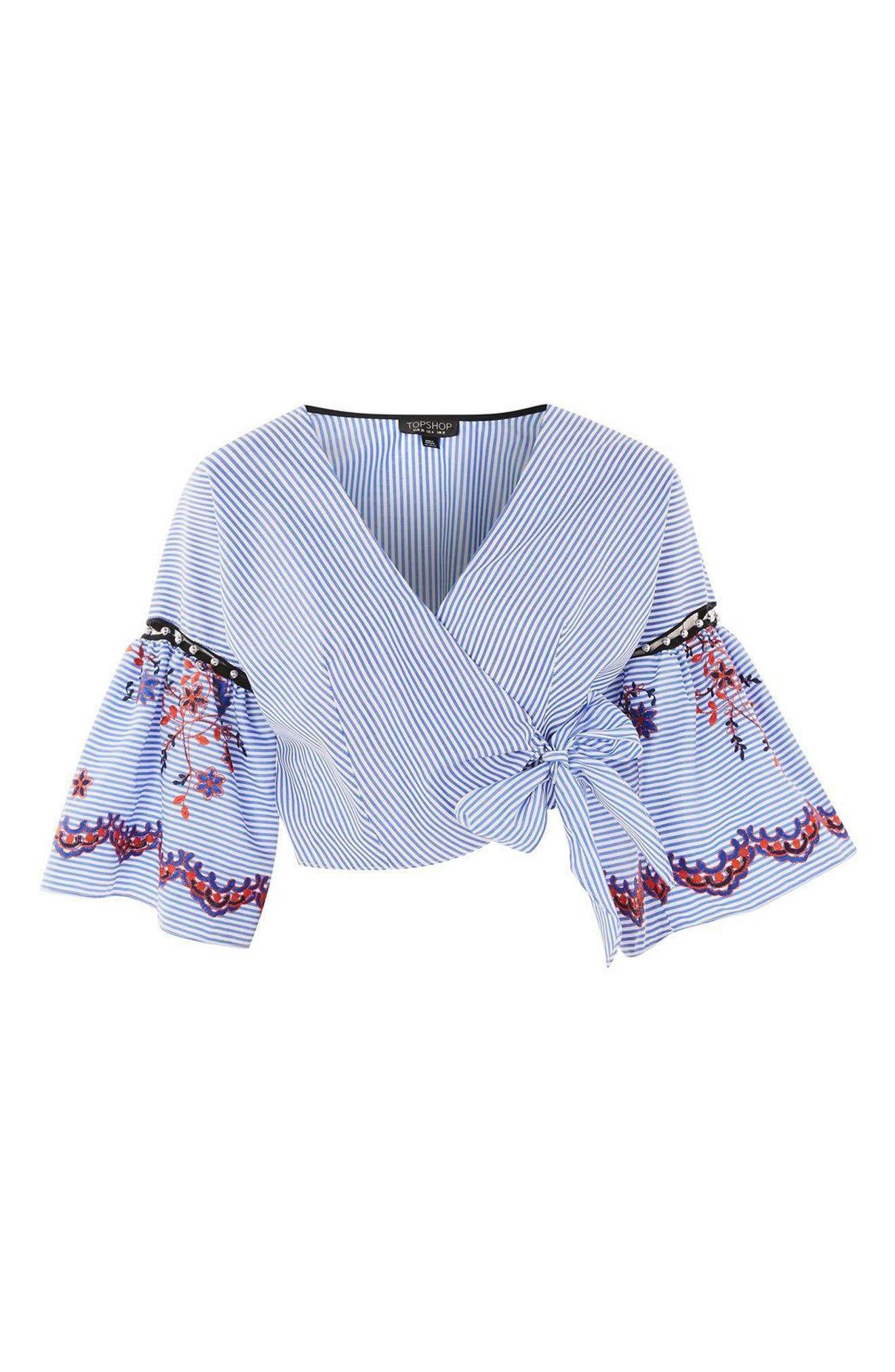 Alternate Image 3  - Topshop Embroidered Stripe Wrap Top