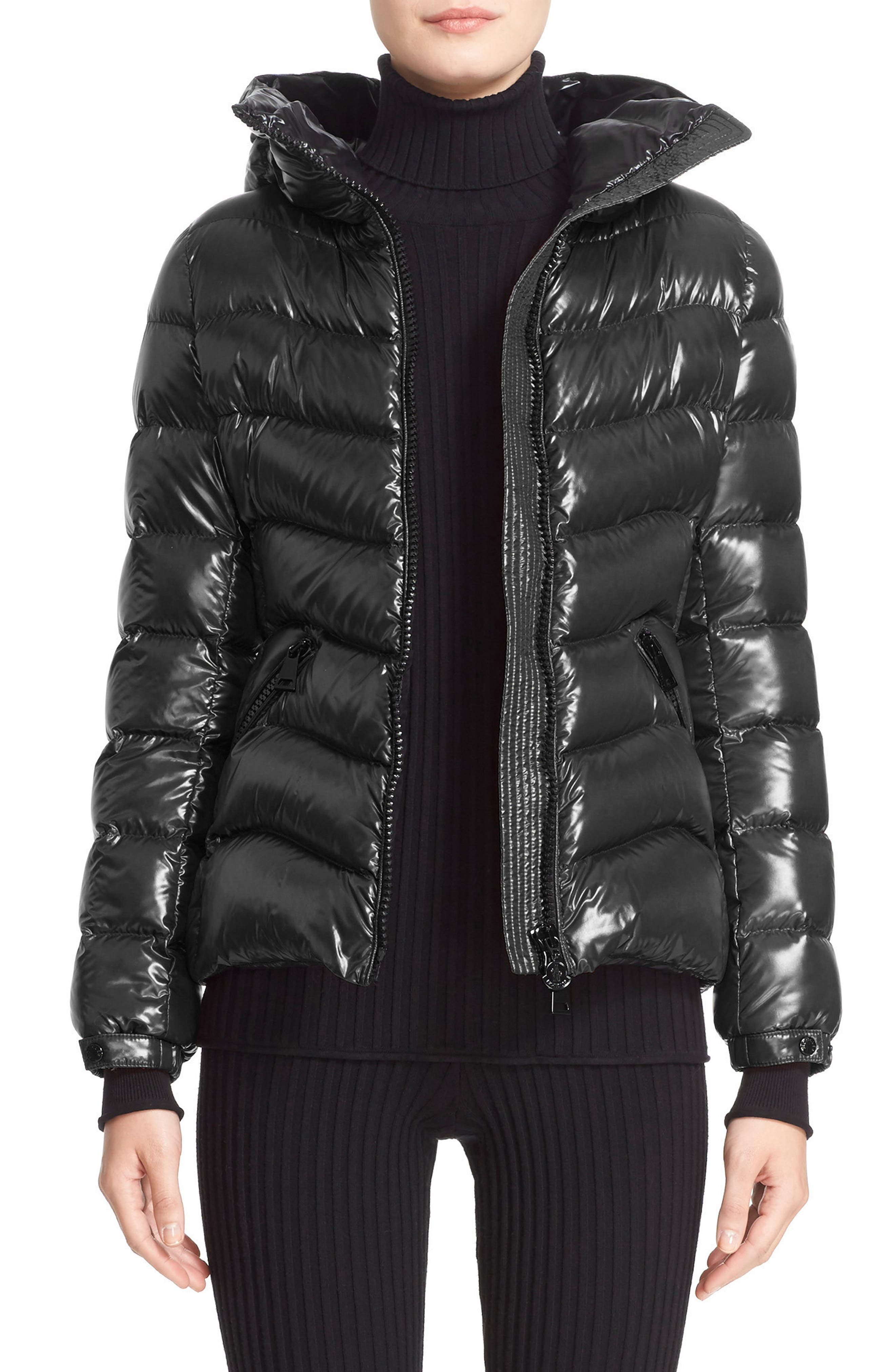 Alternate Image 1 Selected - Moncler Anthia Water Resistant Shiny Nylon Hooded Down Puffer Jacket