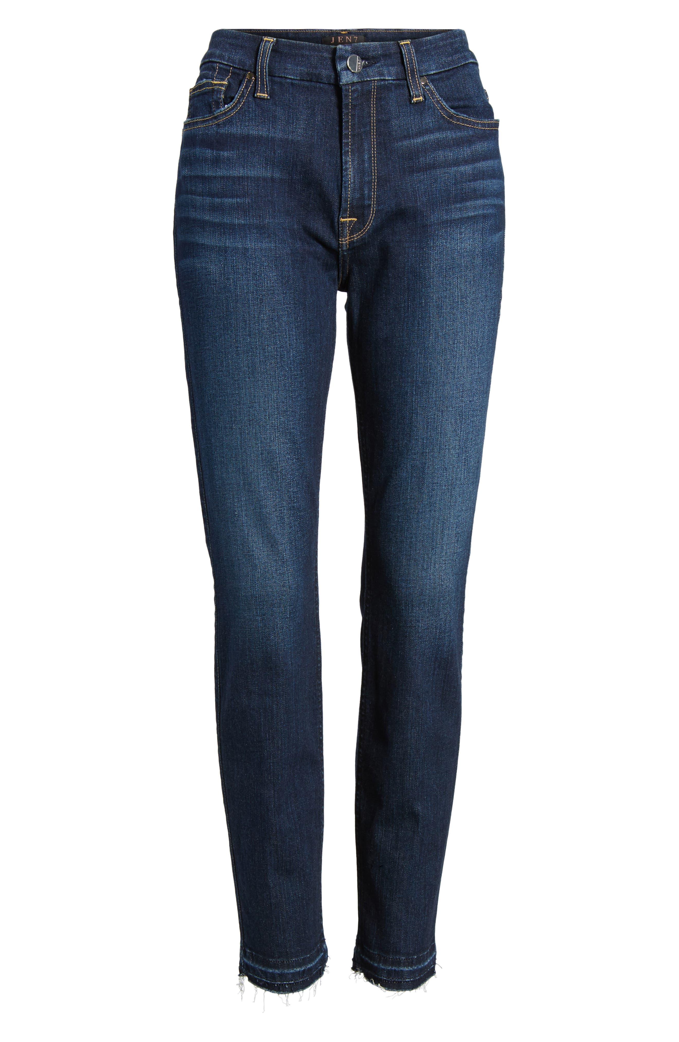 Release Hem Stretch Ankle Skinny Jeans,                             Alternate thumbnail 6, color,                             Prague Deep Blue