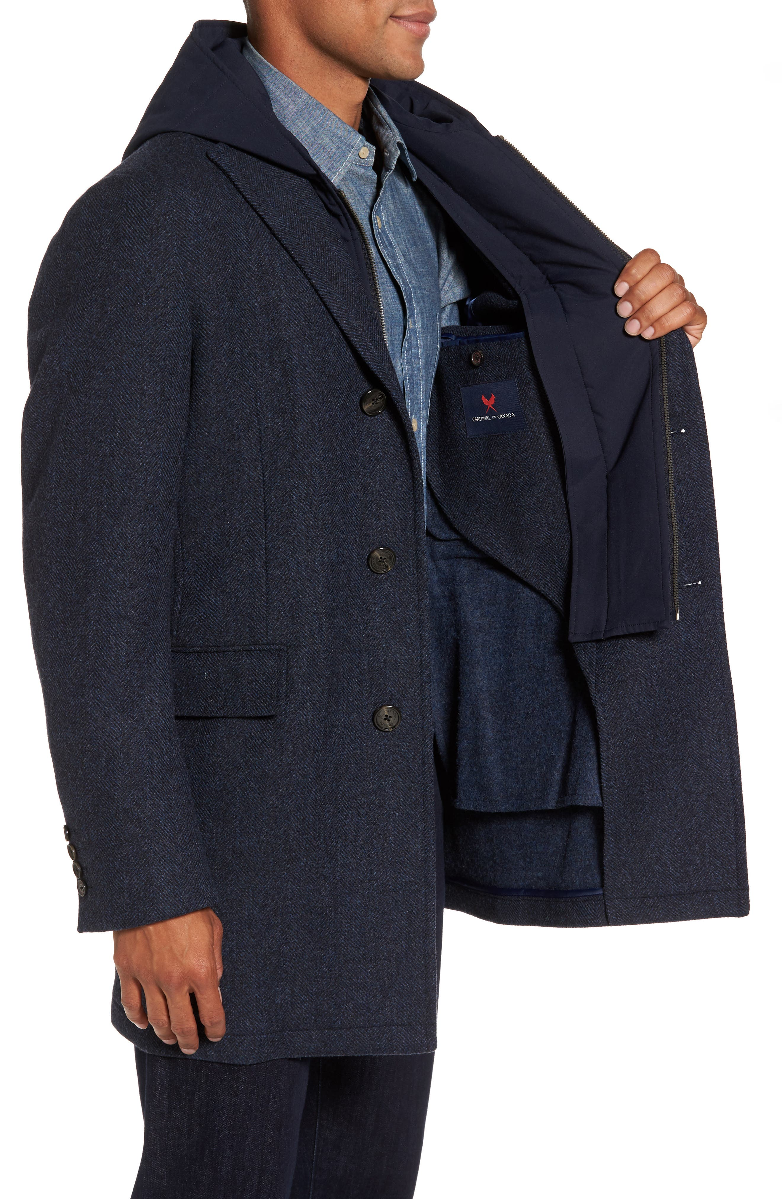 Alternate Image 3  - Cardinal of Canada Hooded Wool & Cashmere Topcoat