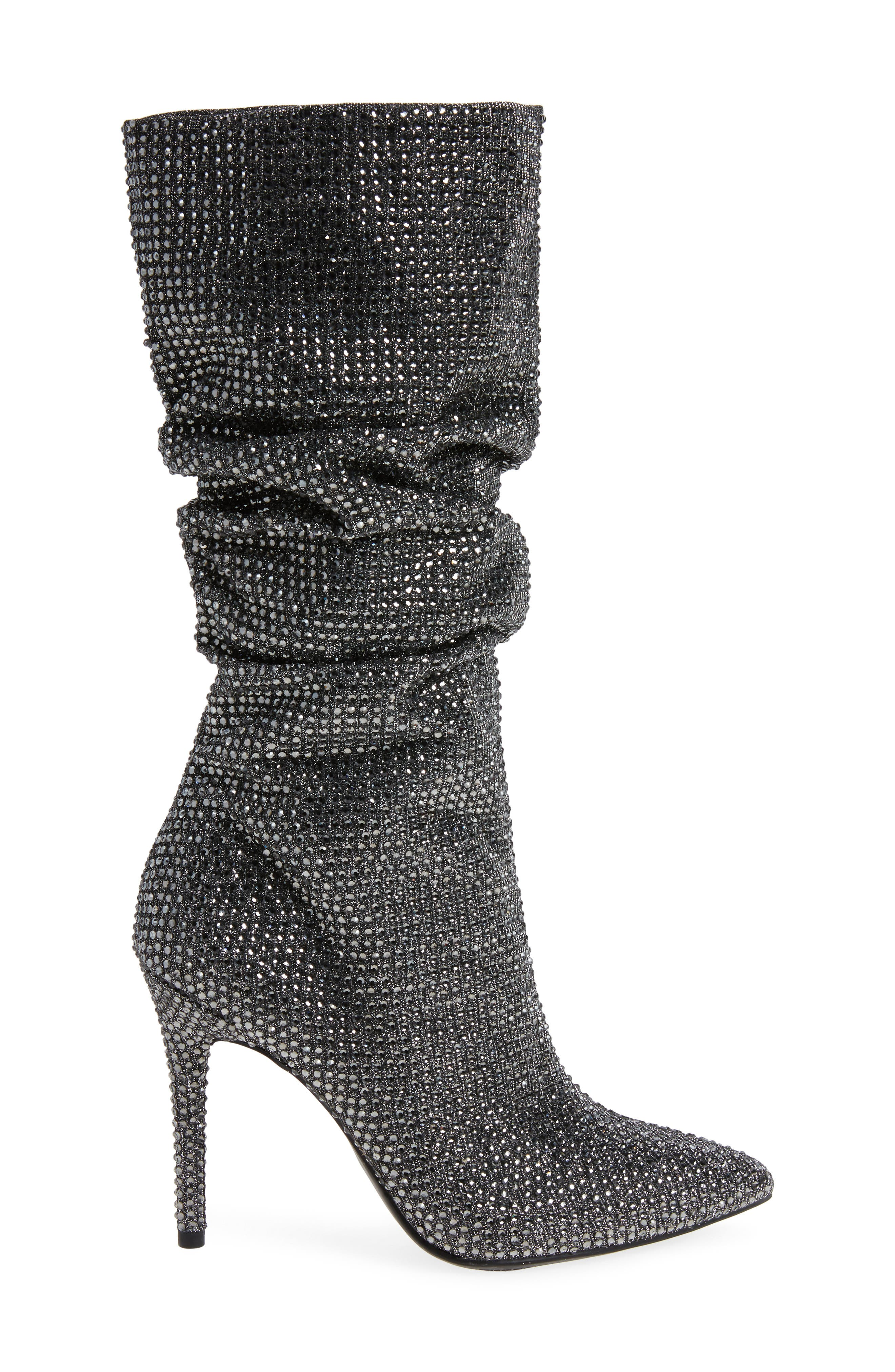 Layzer Embellished Slouch Boot,                             Alternate thumbnail 3, color,                             Pewter Multi