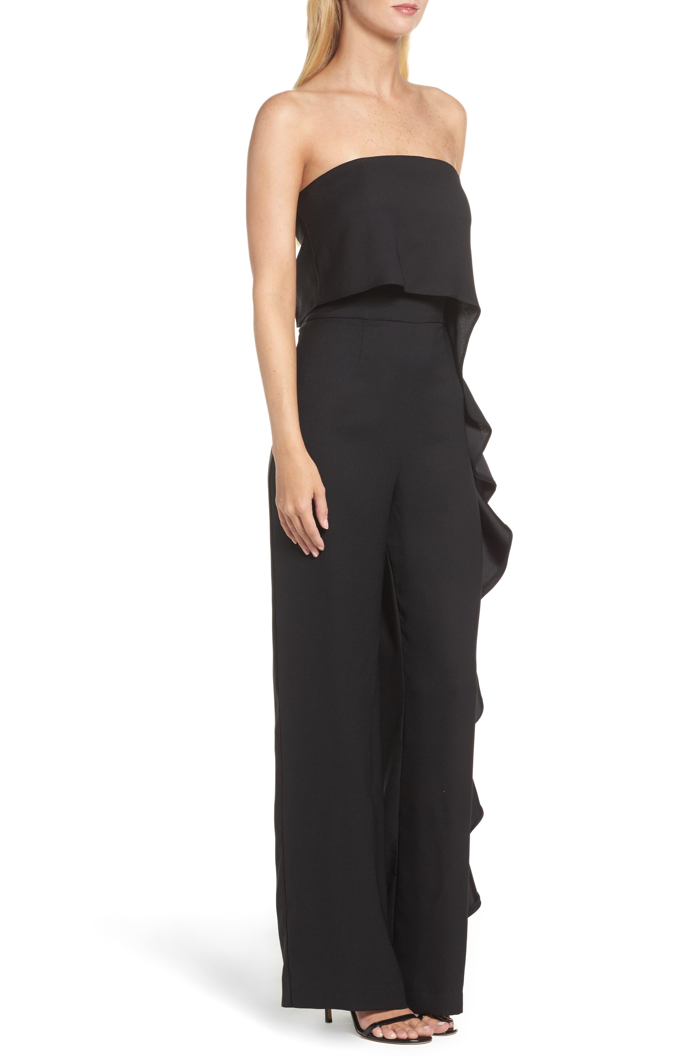 Alternate Image 3  - Eliza J Ruffle Side Strapless Jumpsuit