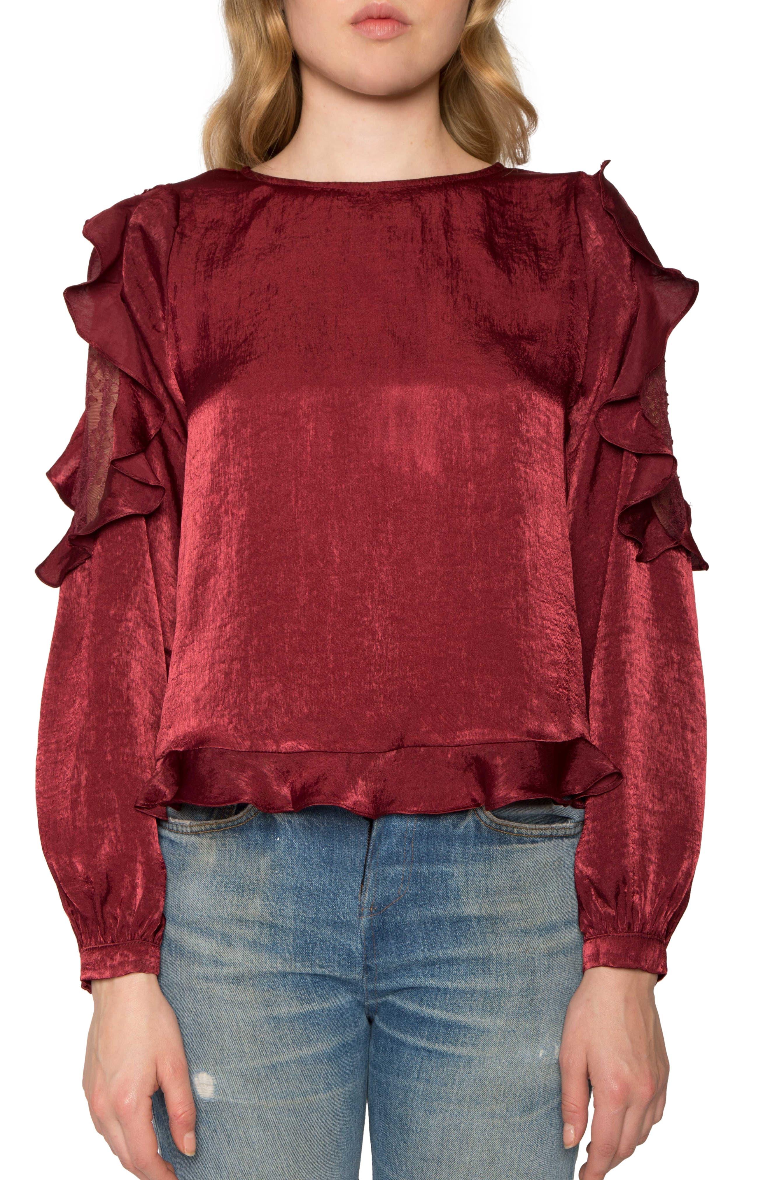 Lace Detail Ruffle Blouse,                         Main,                         color, Wine