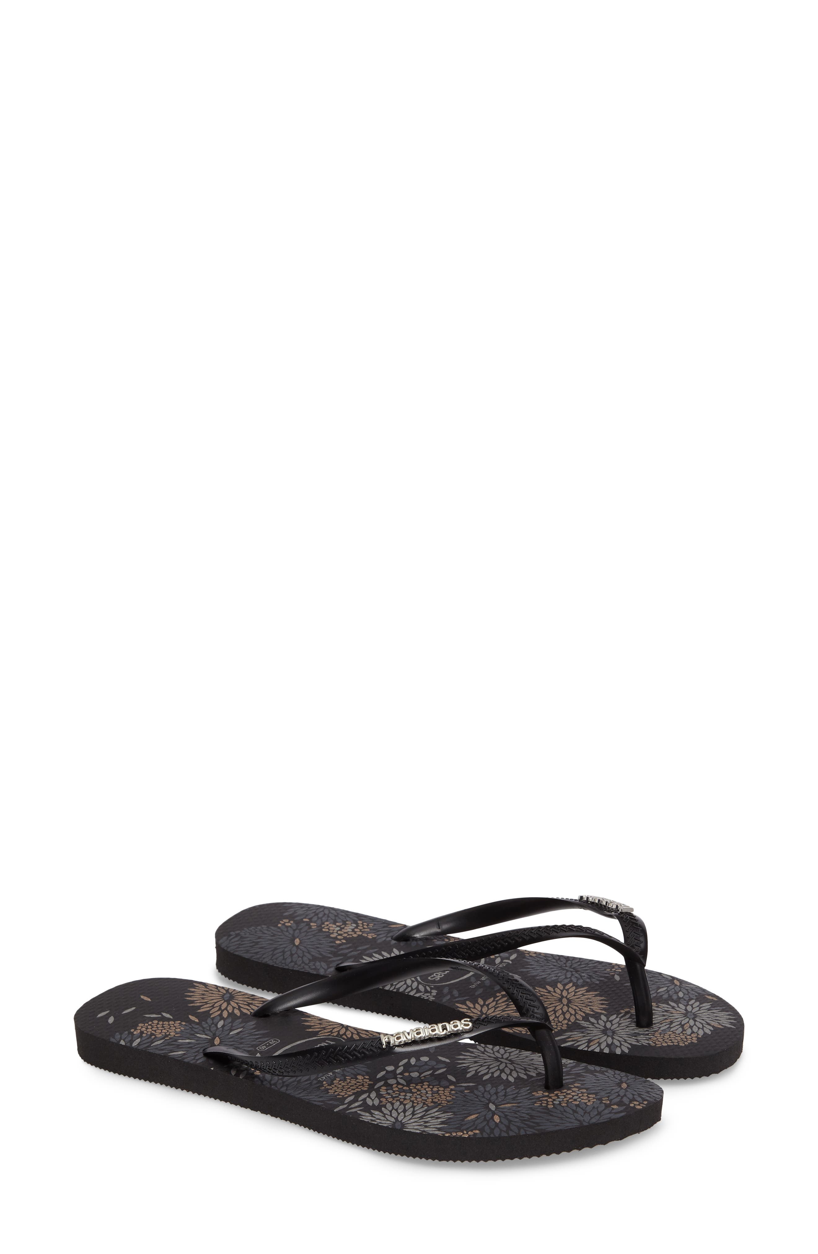 Slim Metallic Bloom Flip Flop,                         Main,                         color, Black/ Silver