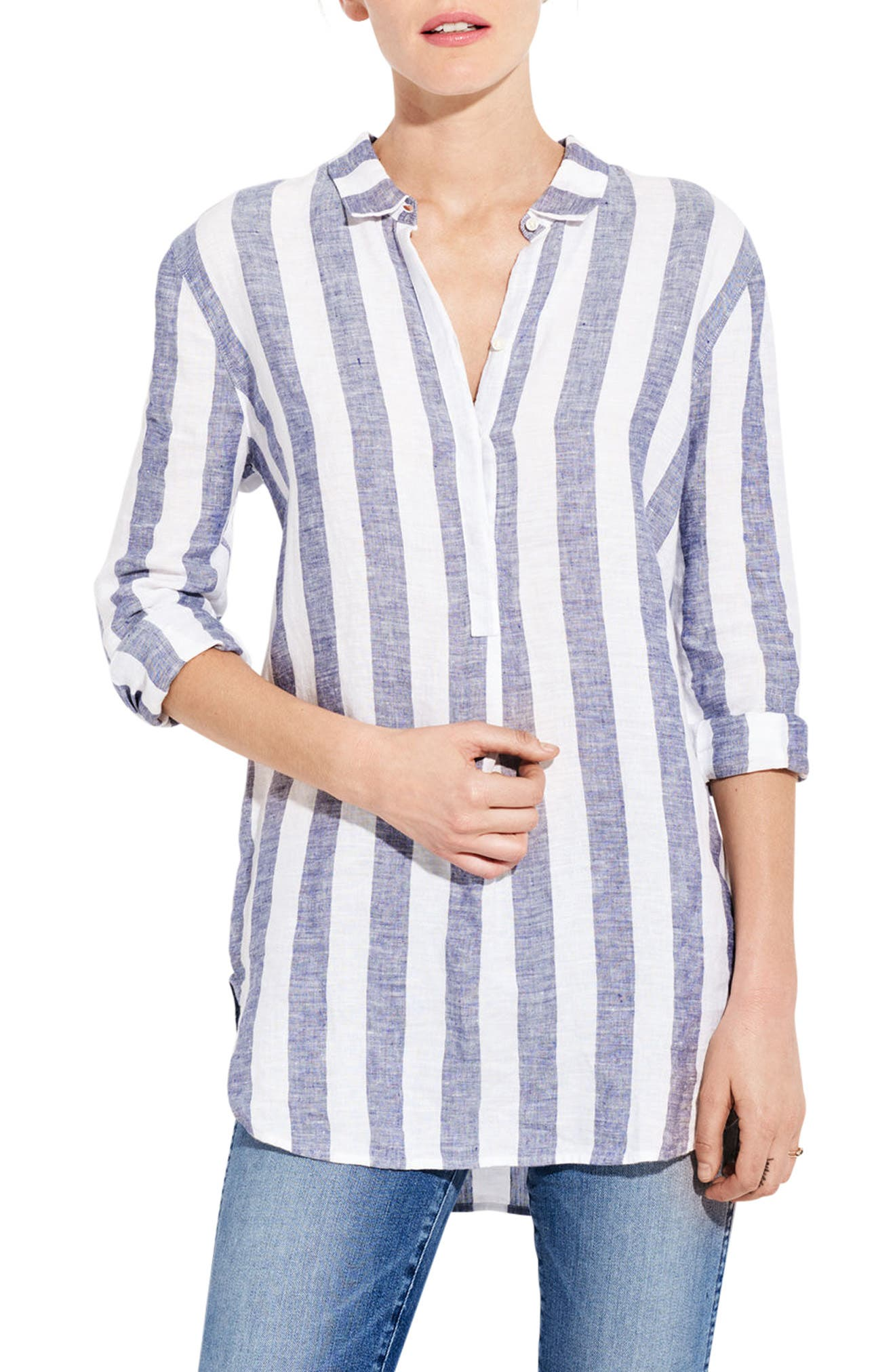 The Easy Linen Shirt,                             Alternate thumbnail 3, color,                             Bold Stripe
