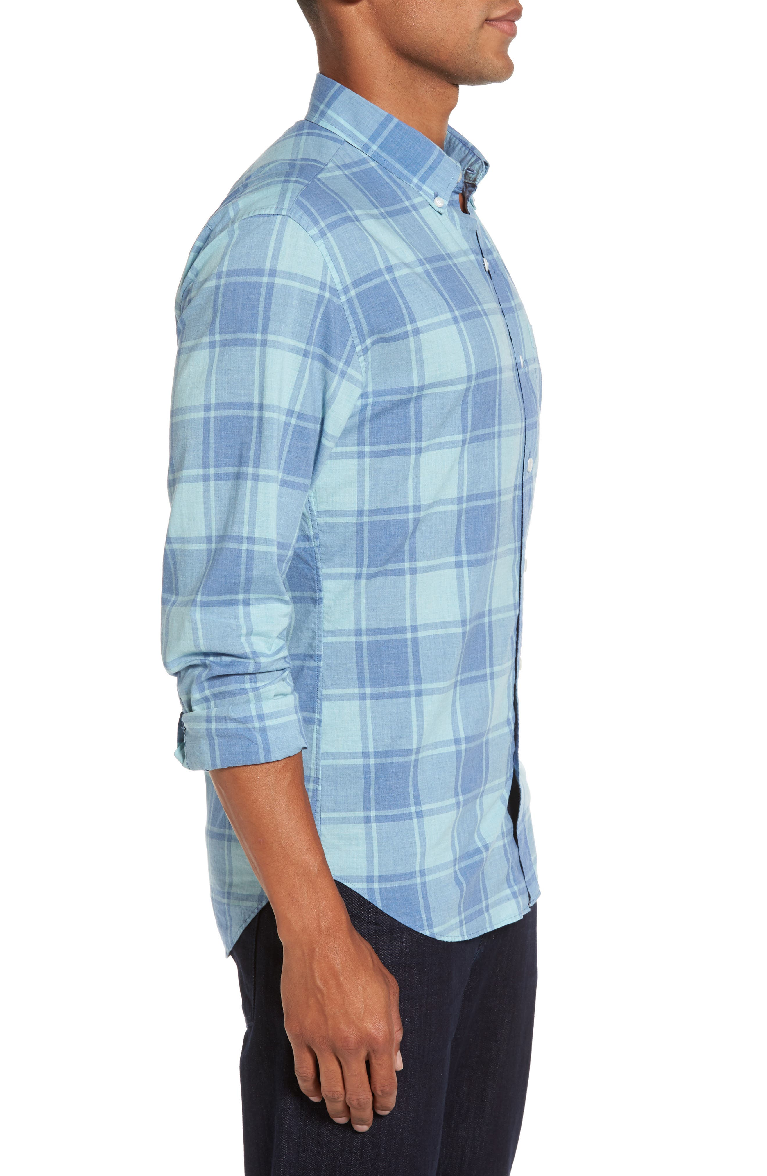 Summerweight Slim Cut Large Check Sport Shirt,                             Alternate thumbnail 3, color,                             Heather Blue Plaid