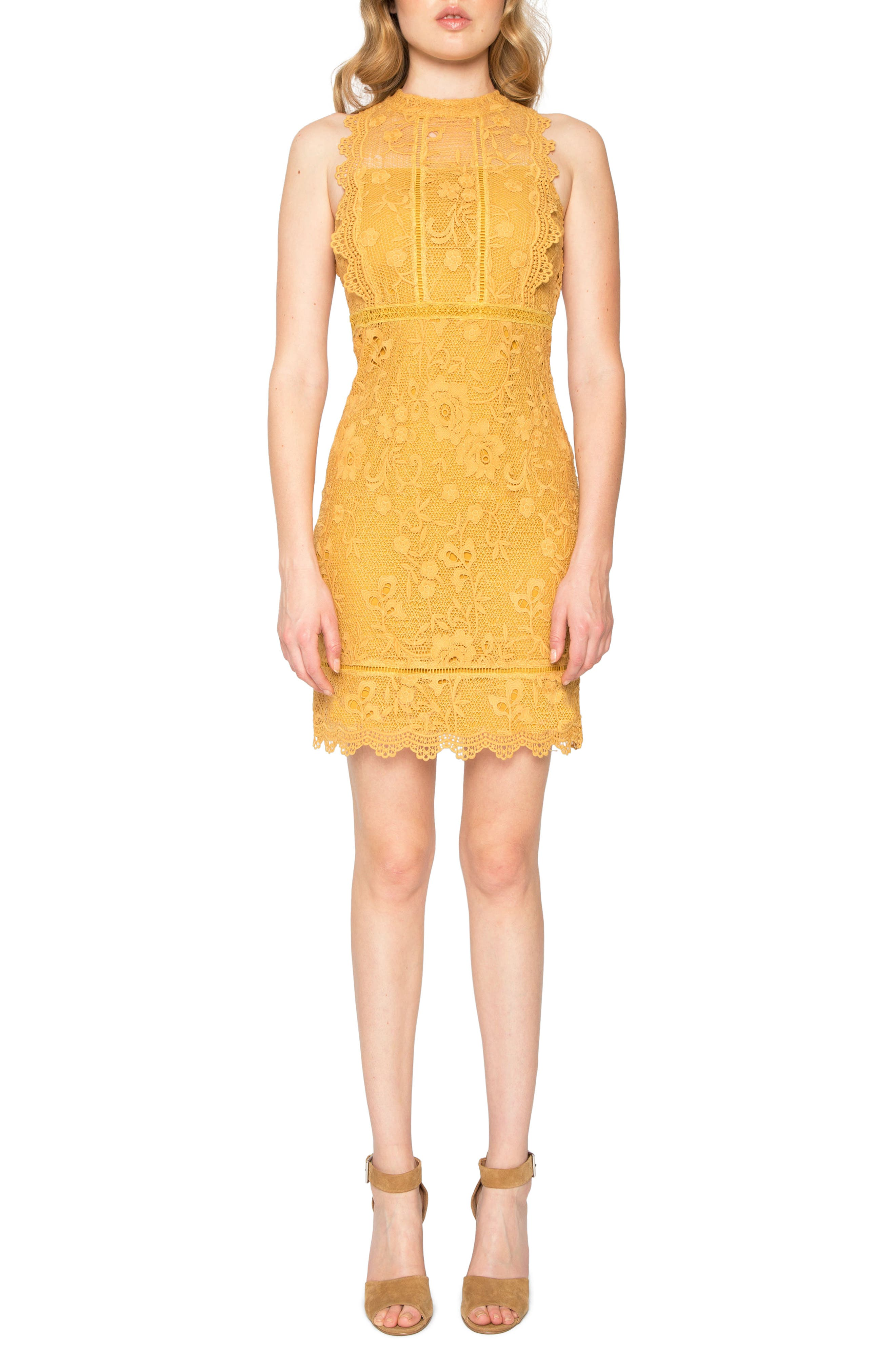 Lace Sheath Dress,                         Main,                         color, Saffron