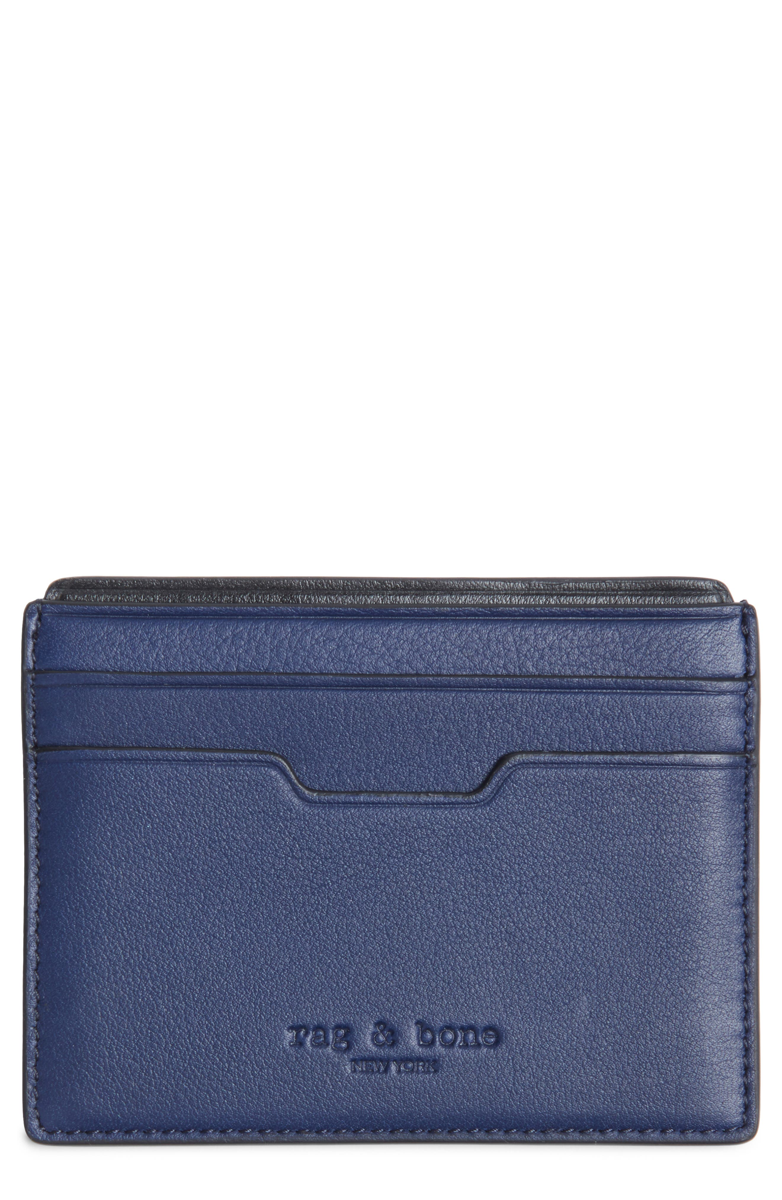 Leather Card Case,                         Main,                         color, Navy