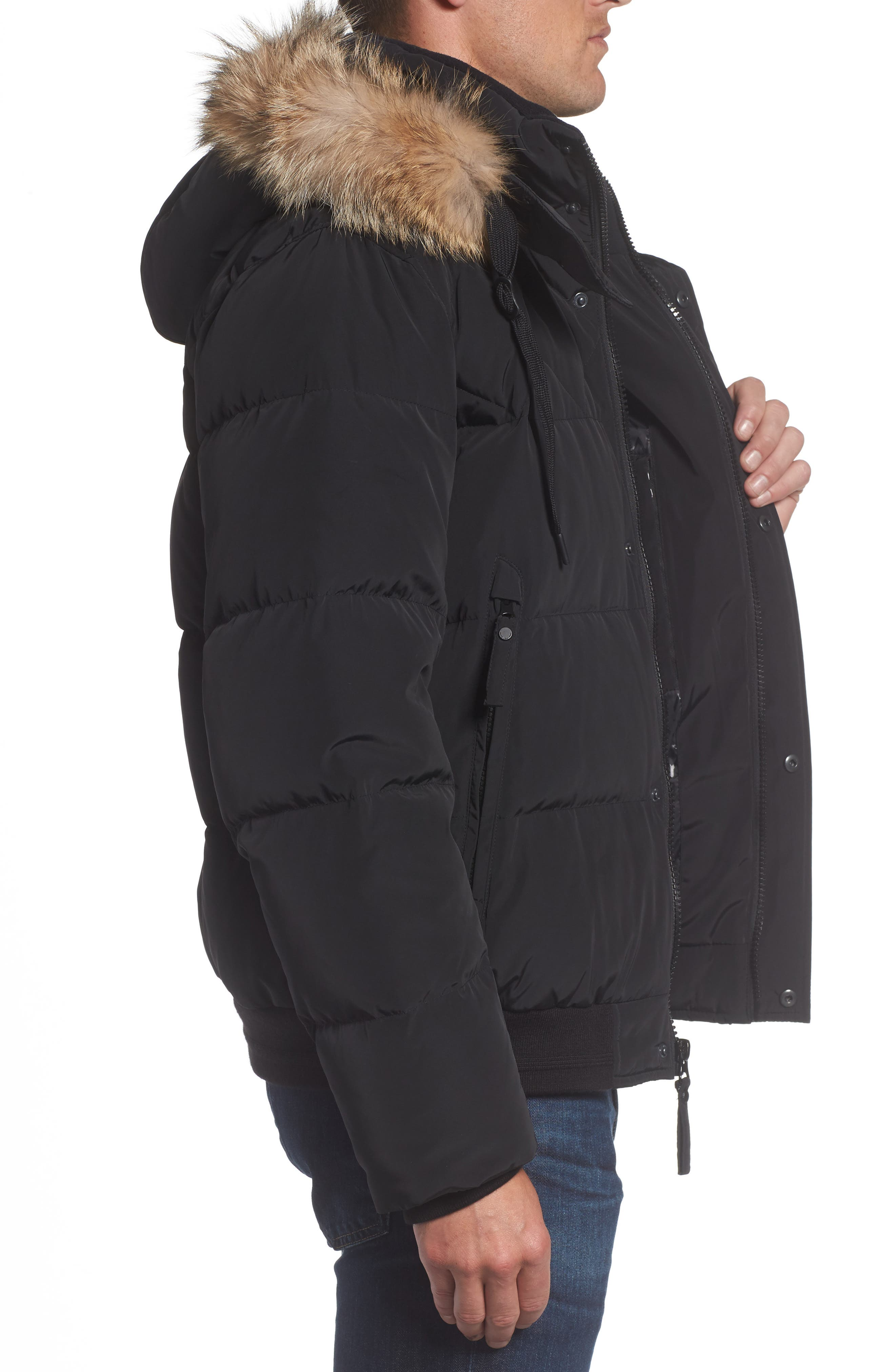 Insulated Jacket with Genuine Coyote Fur,                             Alternate thumbnail 3, color,                             Black