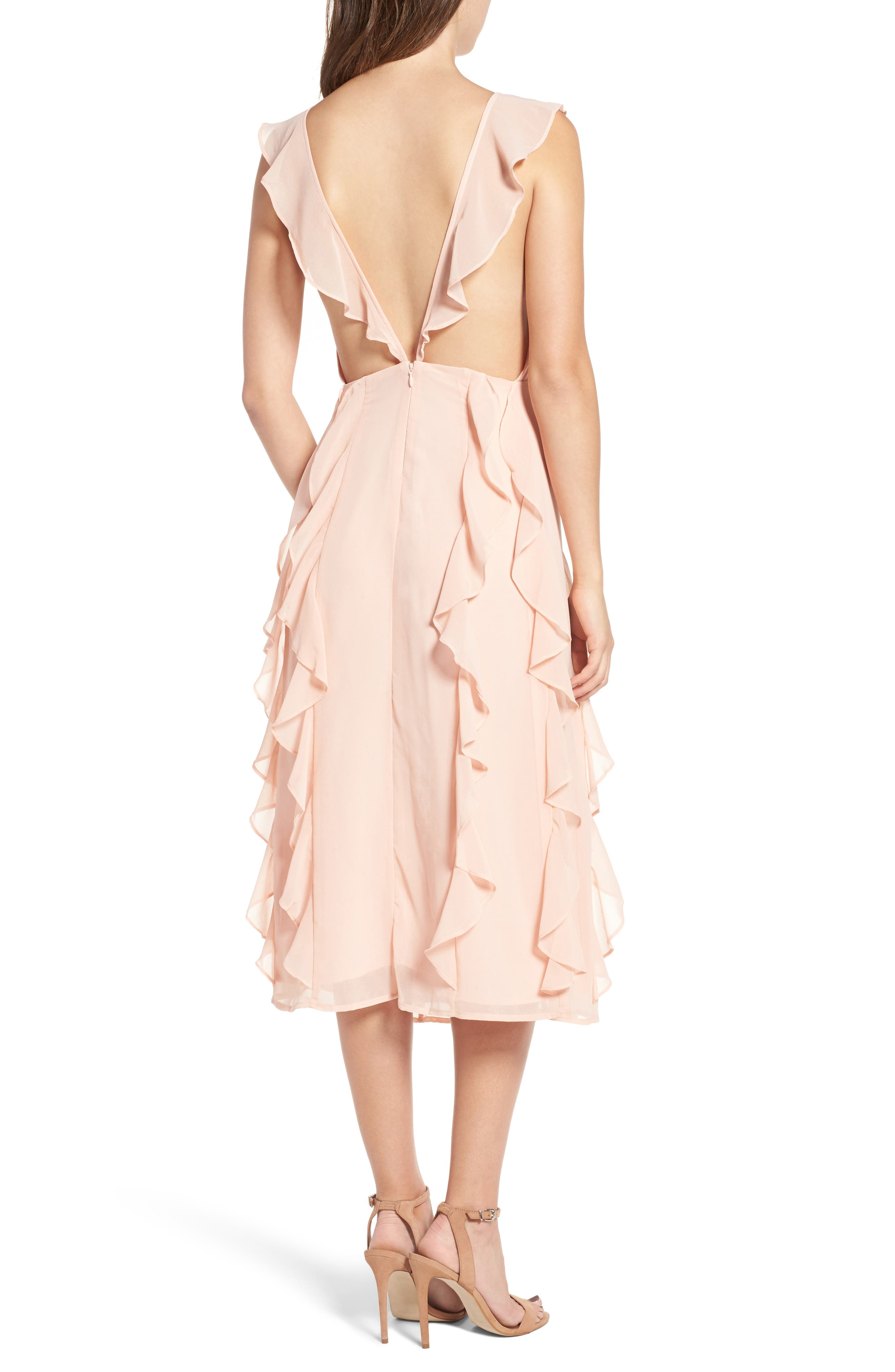 Ingrid Ruffle Chiffon Midi Dress,                             Alternate thumbnail 2, color,                             Cameo Rose