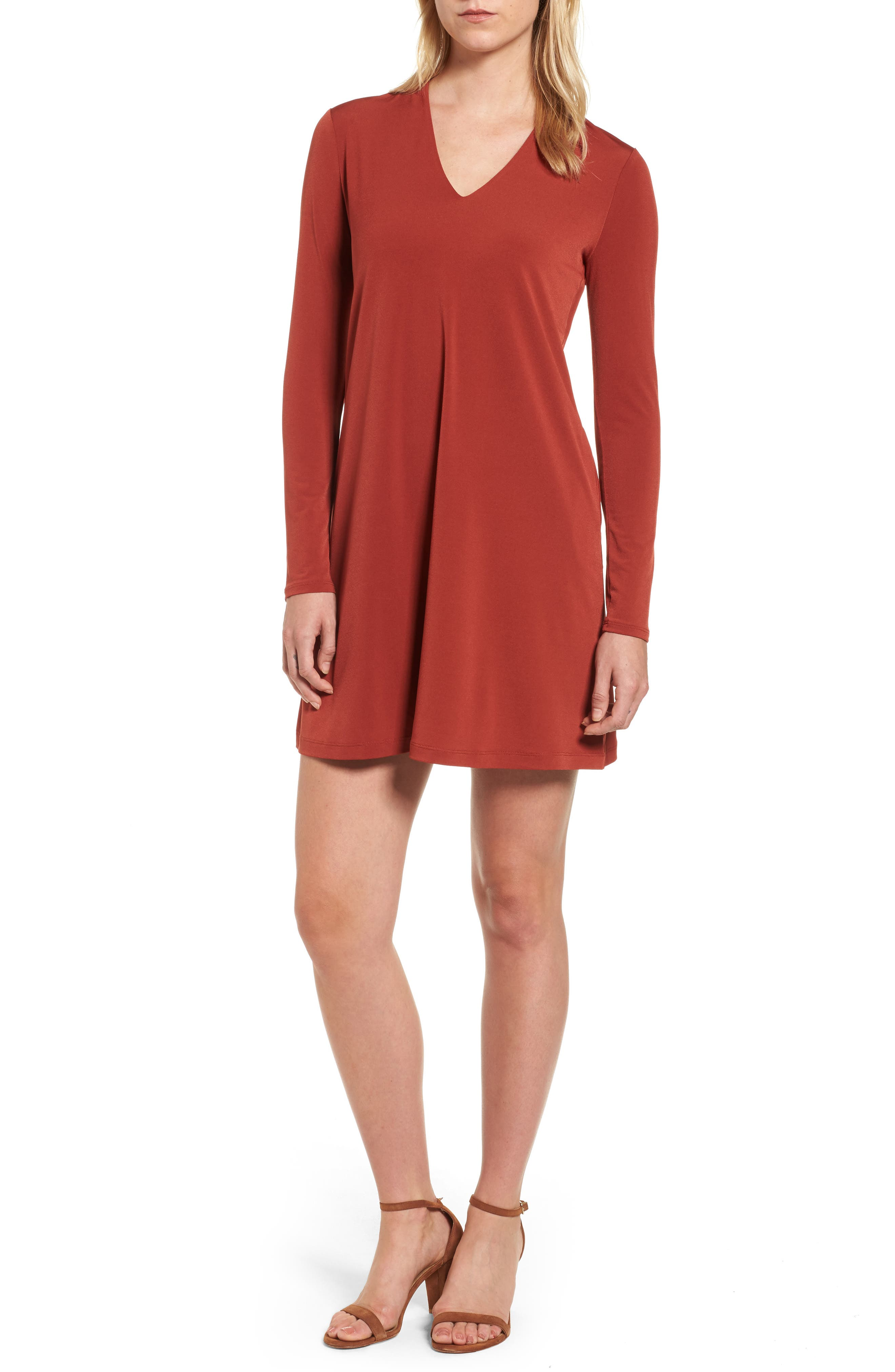 V-Neck A-Line Dress,                             Main thumbnail 1, color,                             Red Clay