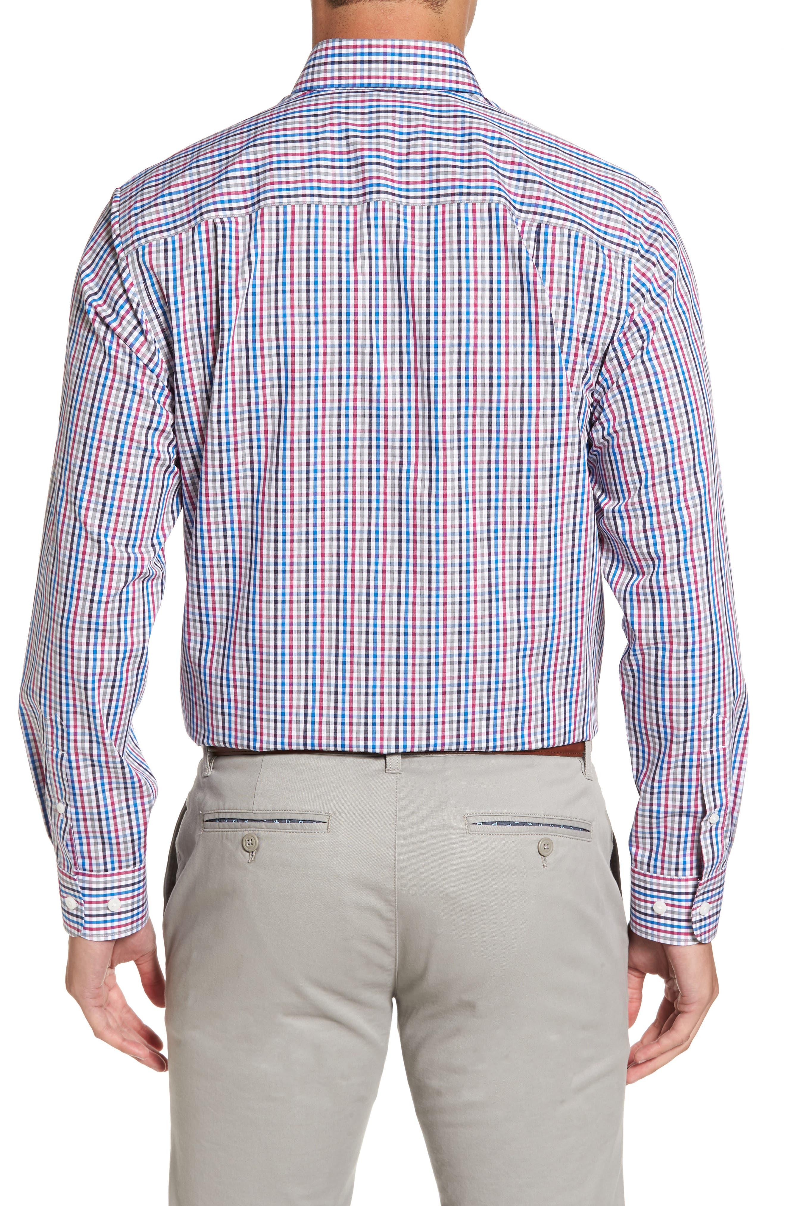 Baxter Epic Easy Care Classic Fit Plaid Sport Shirt,                             Alternate thumbnail 2, color,                             Tannin