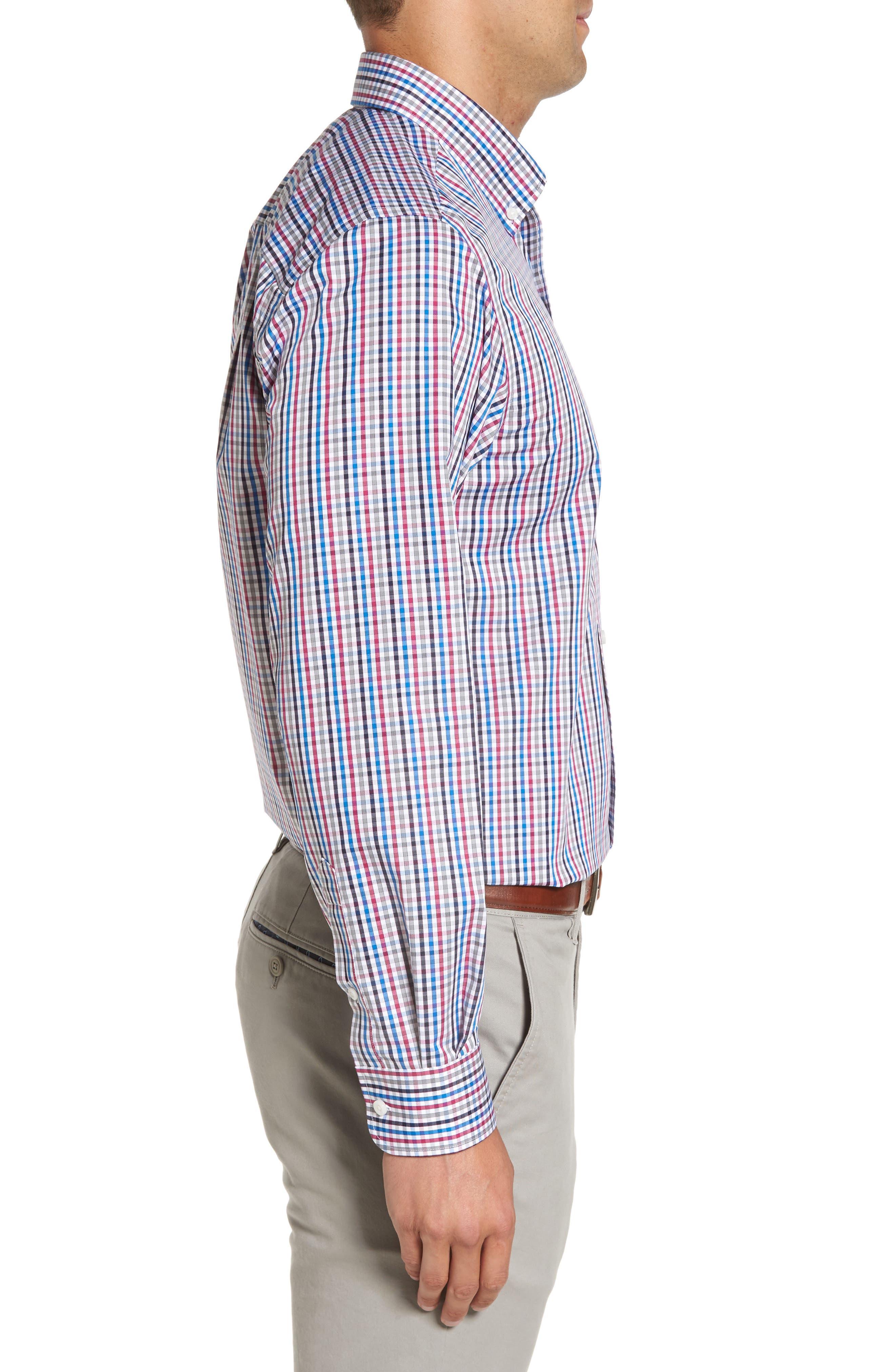 Baxter Epic Easy Care Classic Fit Plaid Sport Shirt,                             Alternate thumbnail 3, color,                             Tannin