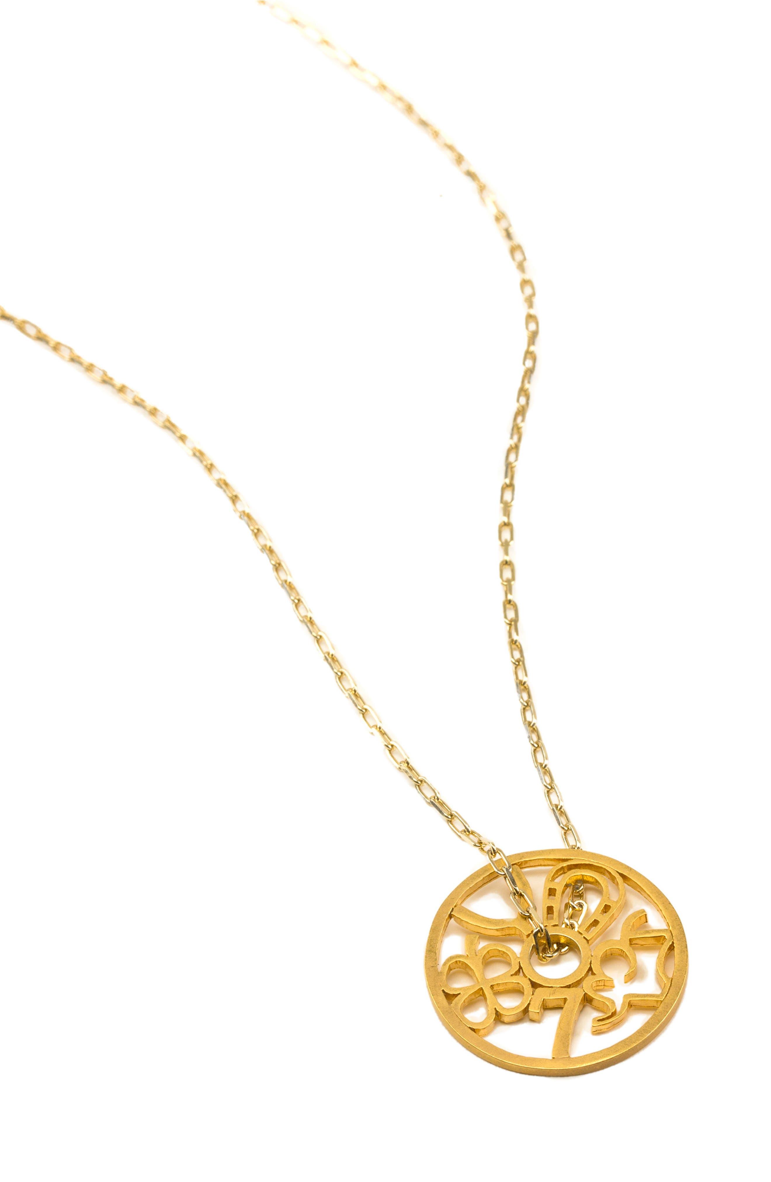 Petalbox Wheel of Fortune Pendant Necklace,                             Alternate thumbnail 2, color,                             Gold