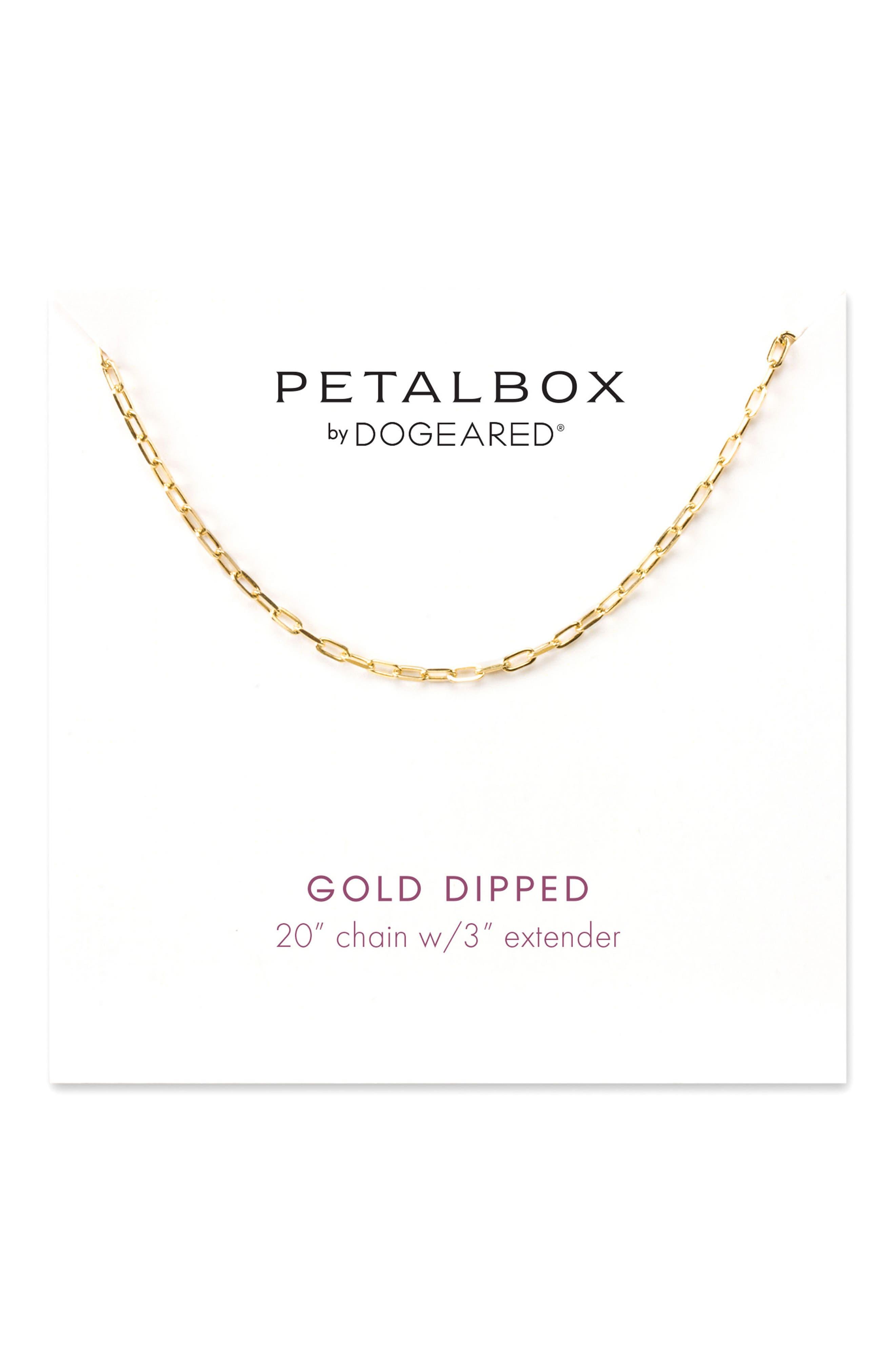 Petalbox Link Necklace,                         Main,                         color, Gold