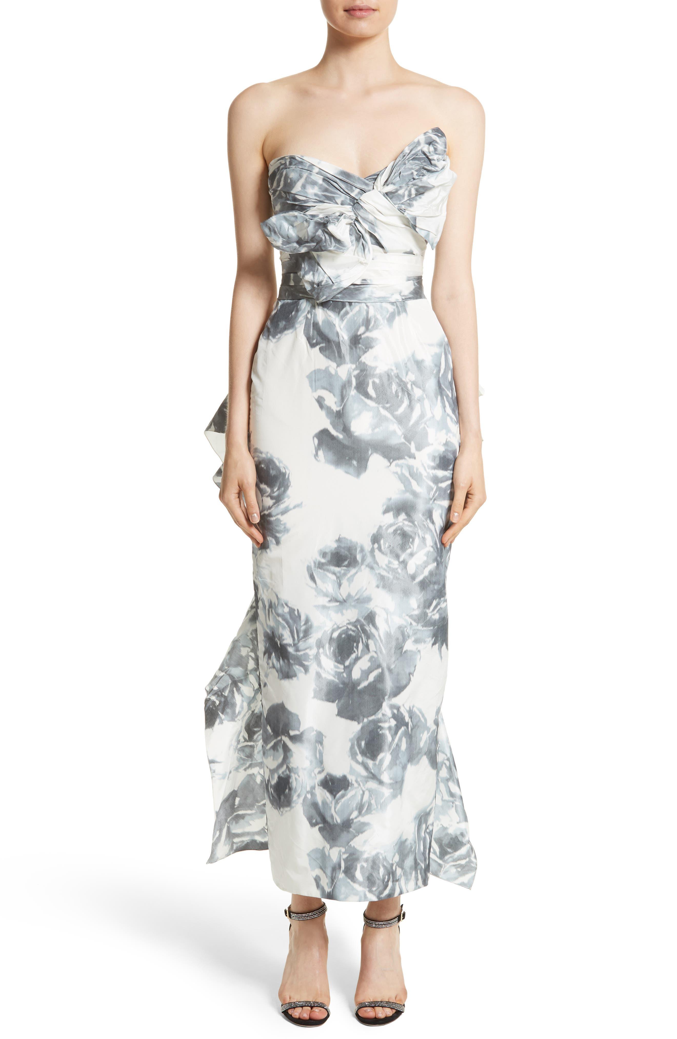 Print Taffeta Strapless Dress,                         Main,                         color, Black/ White
