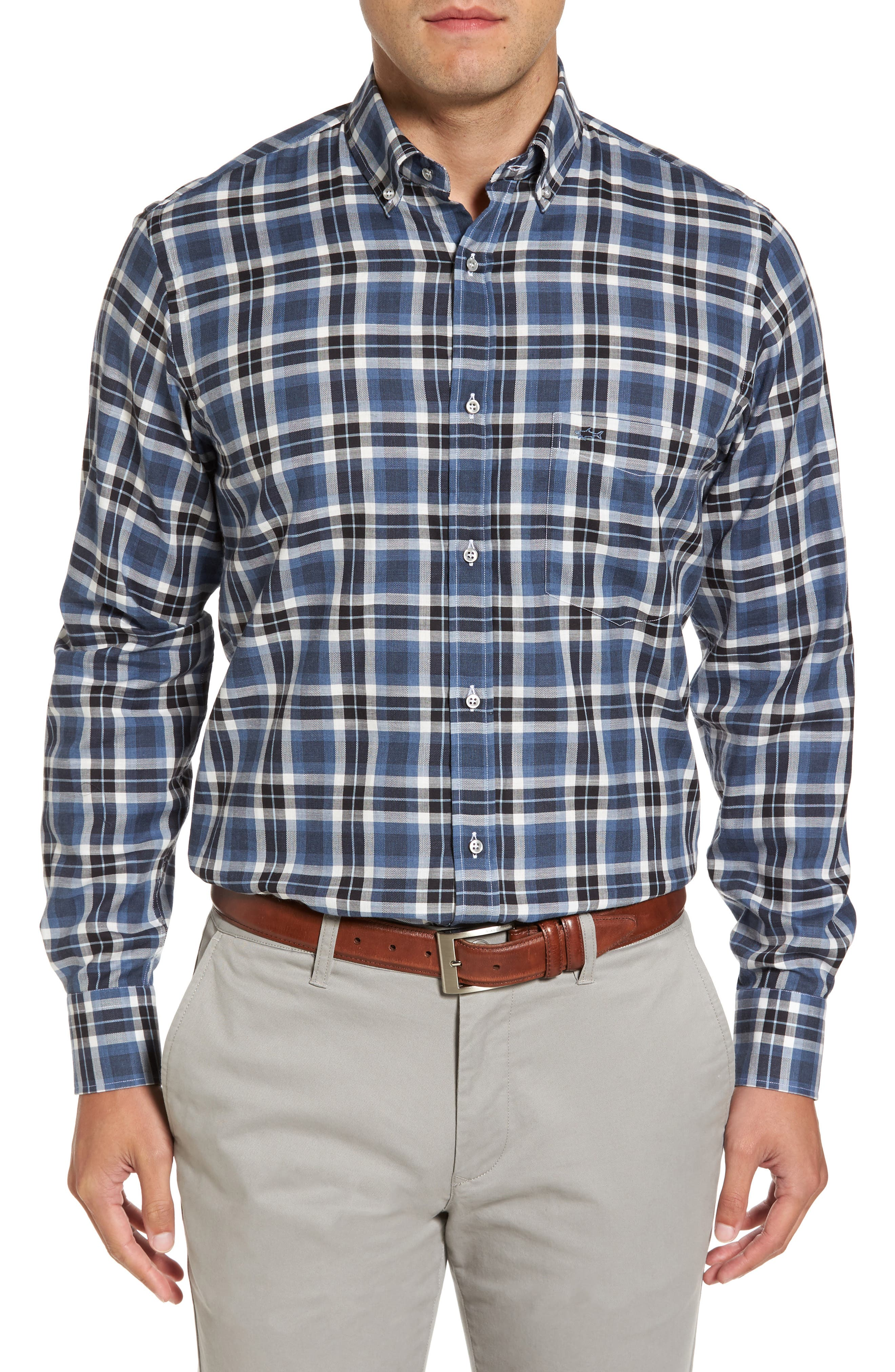 Paul&Shark Silver Collection Plaid Sport Shirt,                             Main thumbnail 1, color,                             Blue / Grey
