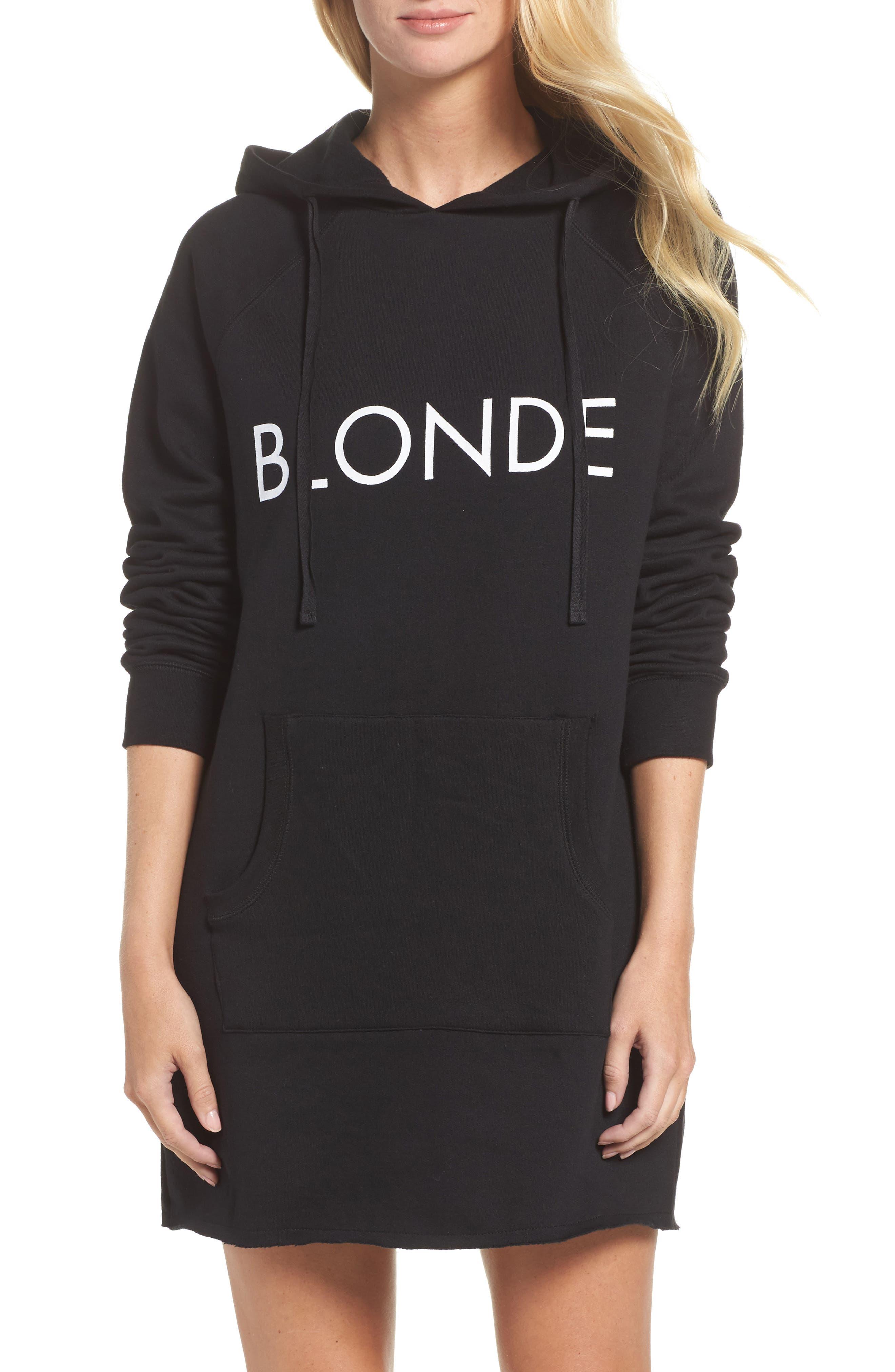 Blonde Tunic Hoodie,                         Main,                         color, Black