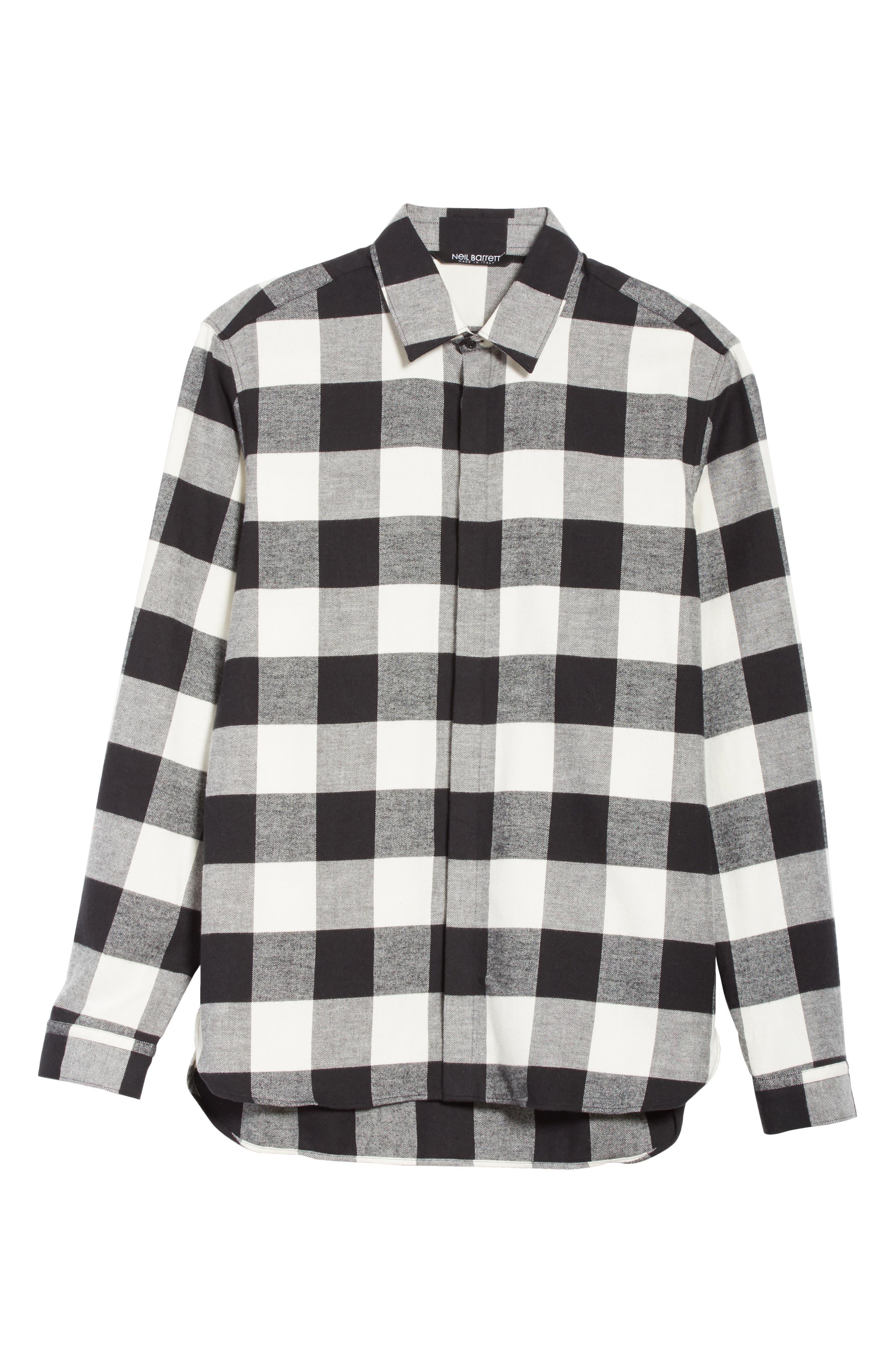 Live and Let Live Plaid Flannel Sport Shirt,                             Alternate thumbnail 6, color,                             Black/ Off White
