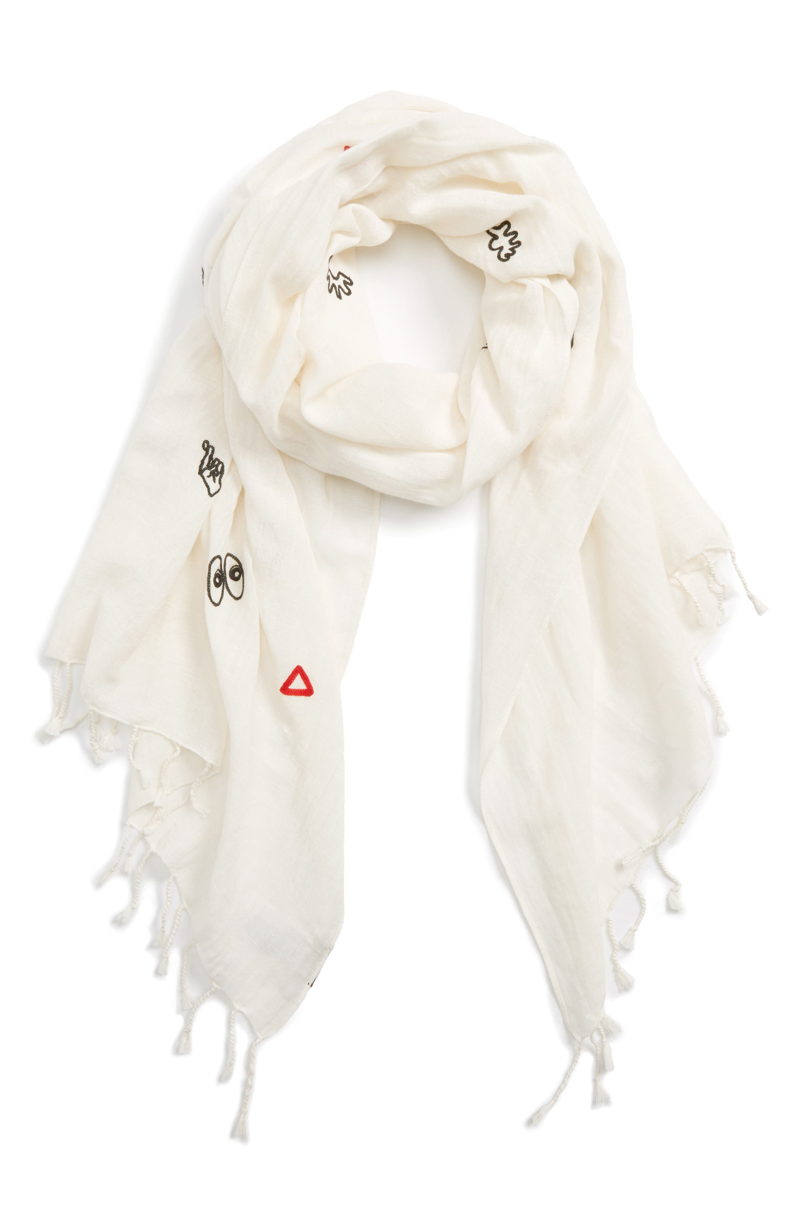 Embroidered Making Faces Scarf,                         Main,                         color, Antique Cream Multi
