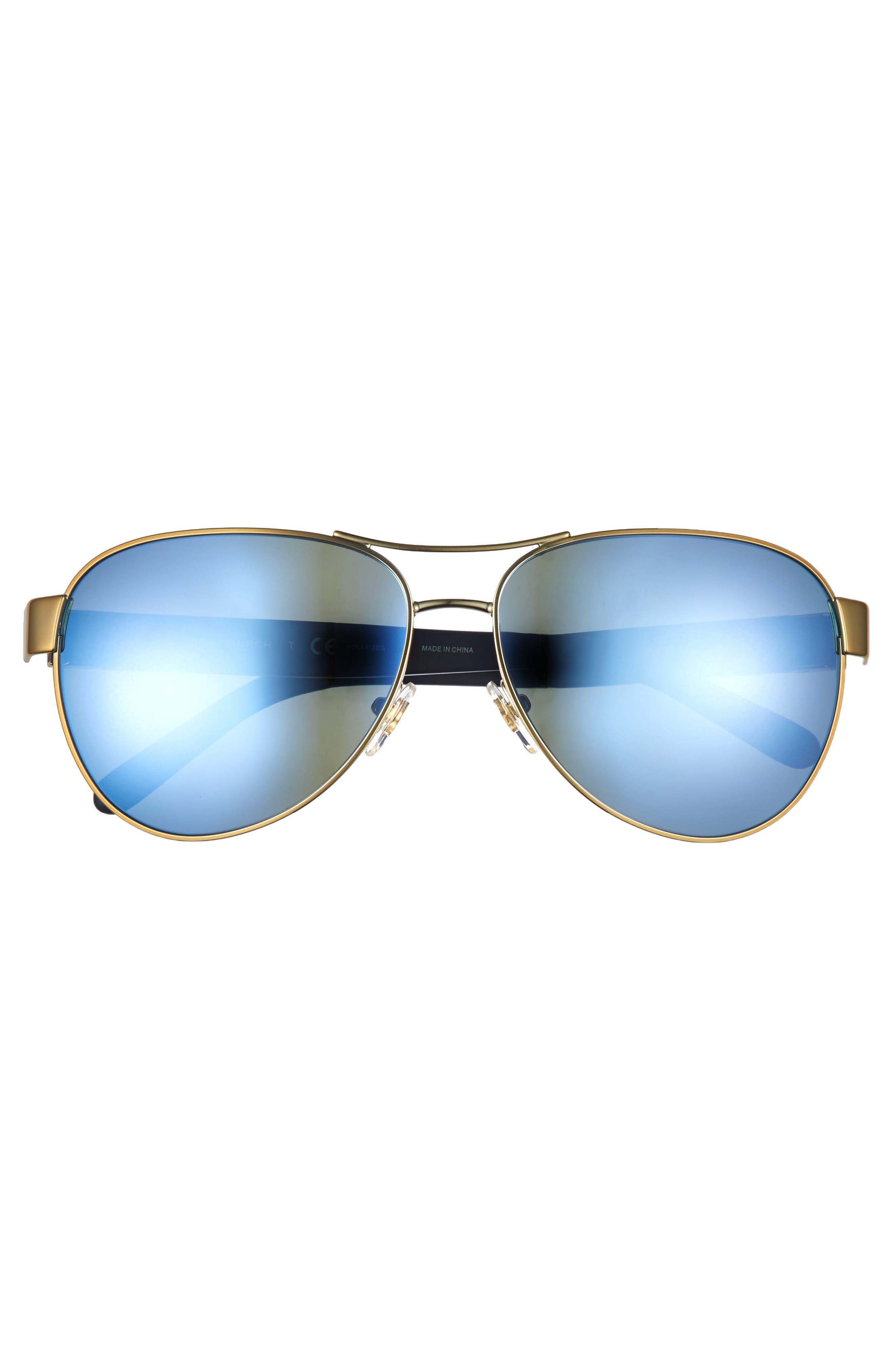 60mm Polarized Aviator Sunglasses,                             Alternate thumbnail 3, color,                             Gold