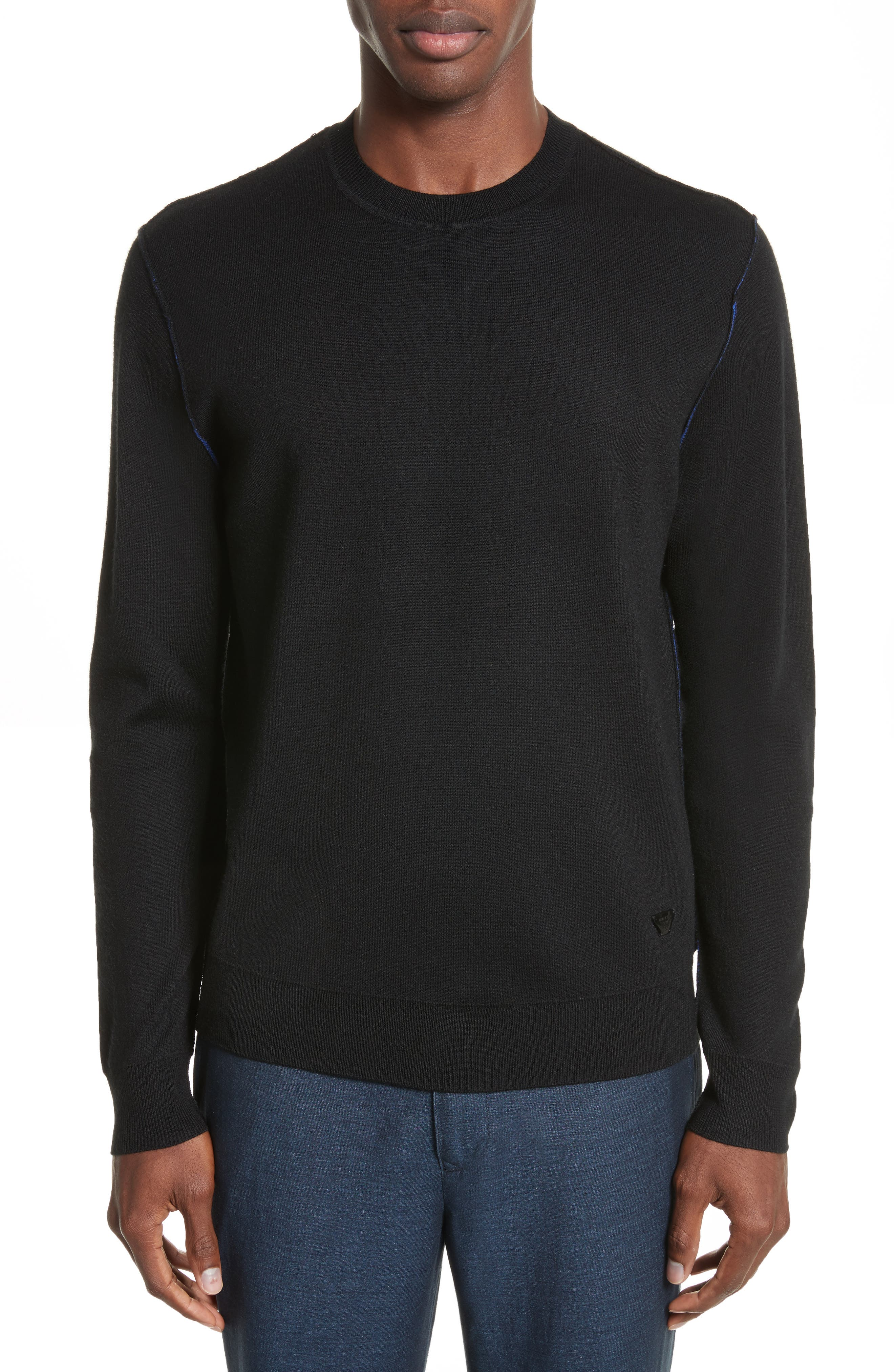 AJ Crewneck Sweater,                             Main thumbnail 1, color,                             Black