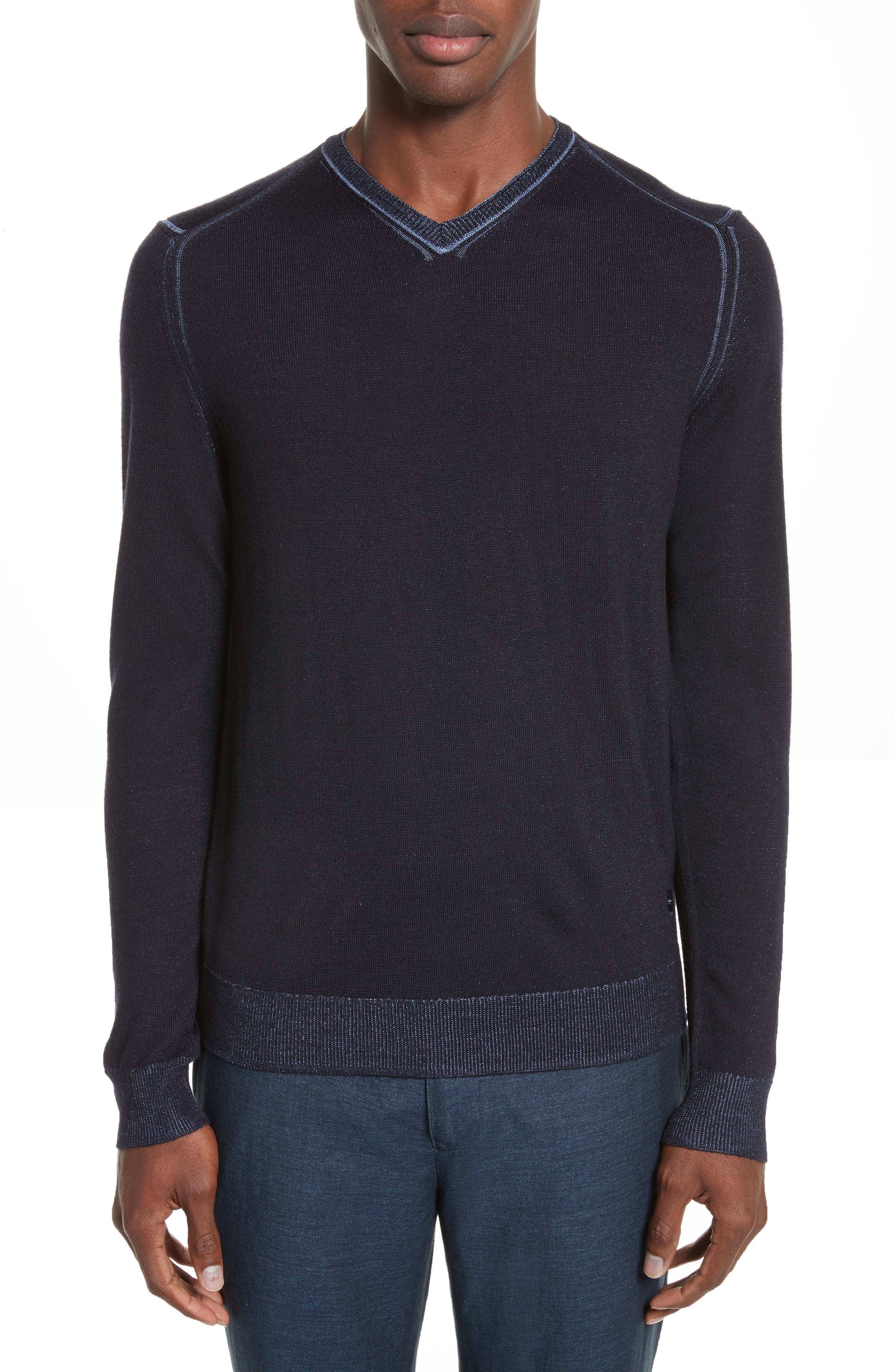 AJ V-Neck Sweater,                             Main thumbnail 1, color,                             Night Blue