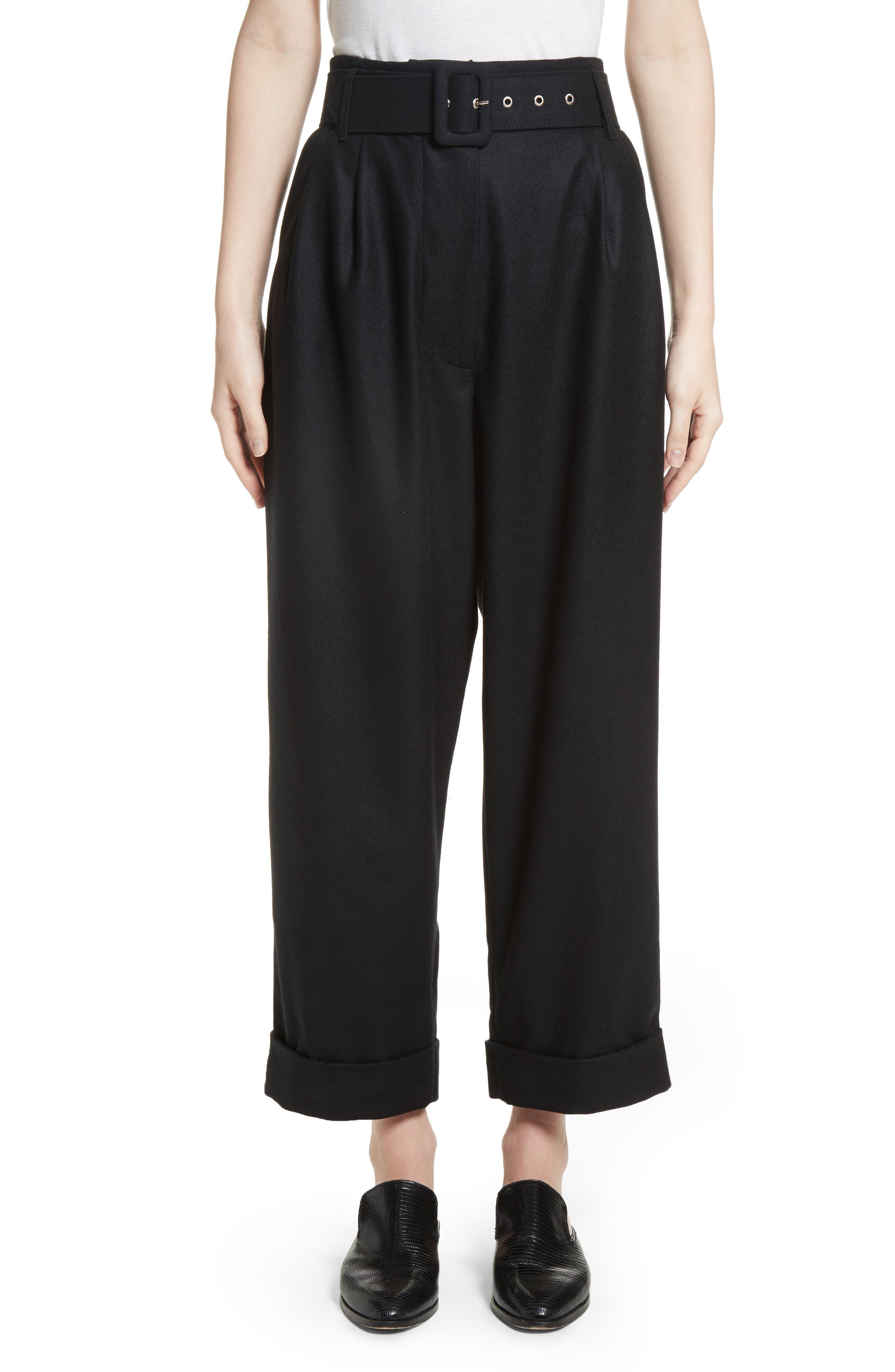 Isa Arfen Belted High Waist Wool Trousers
