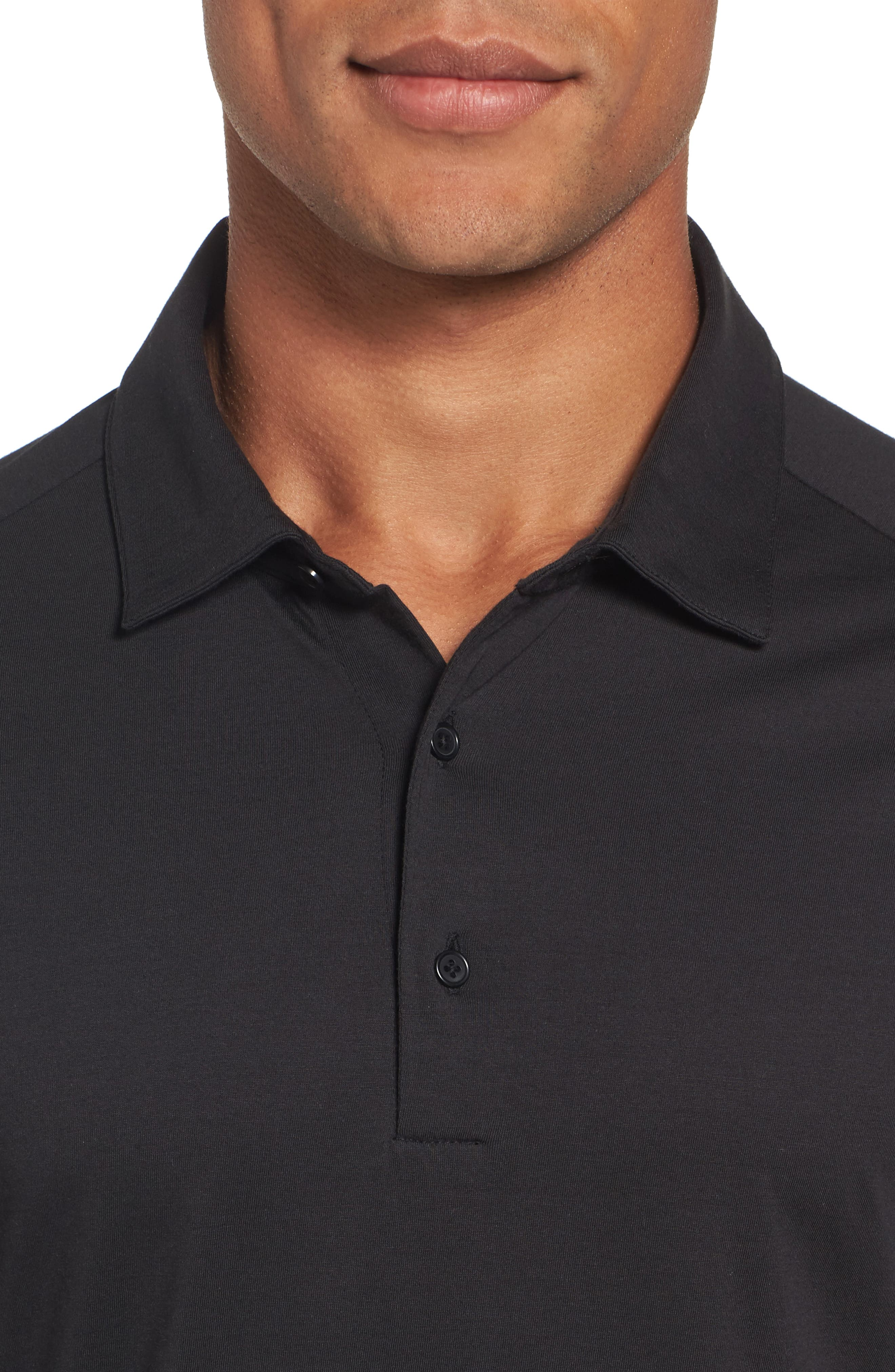 Superfine Slim Fit Long Sleeve Polo,                             Alternate thumbnail 4, color,                             Caviar Black