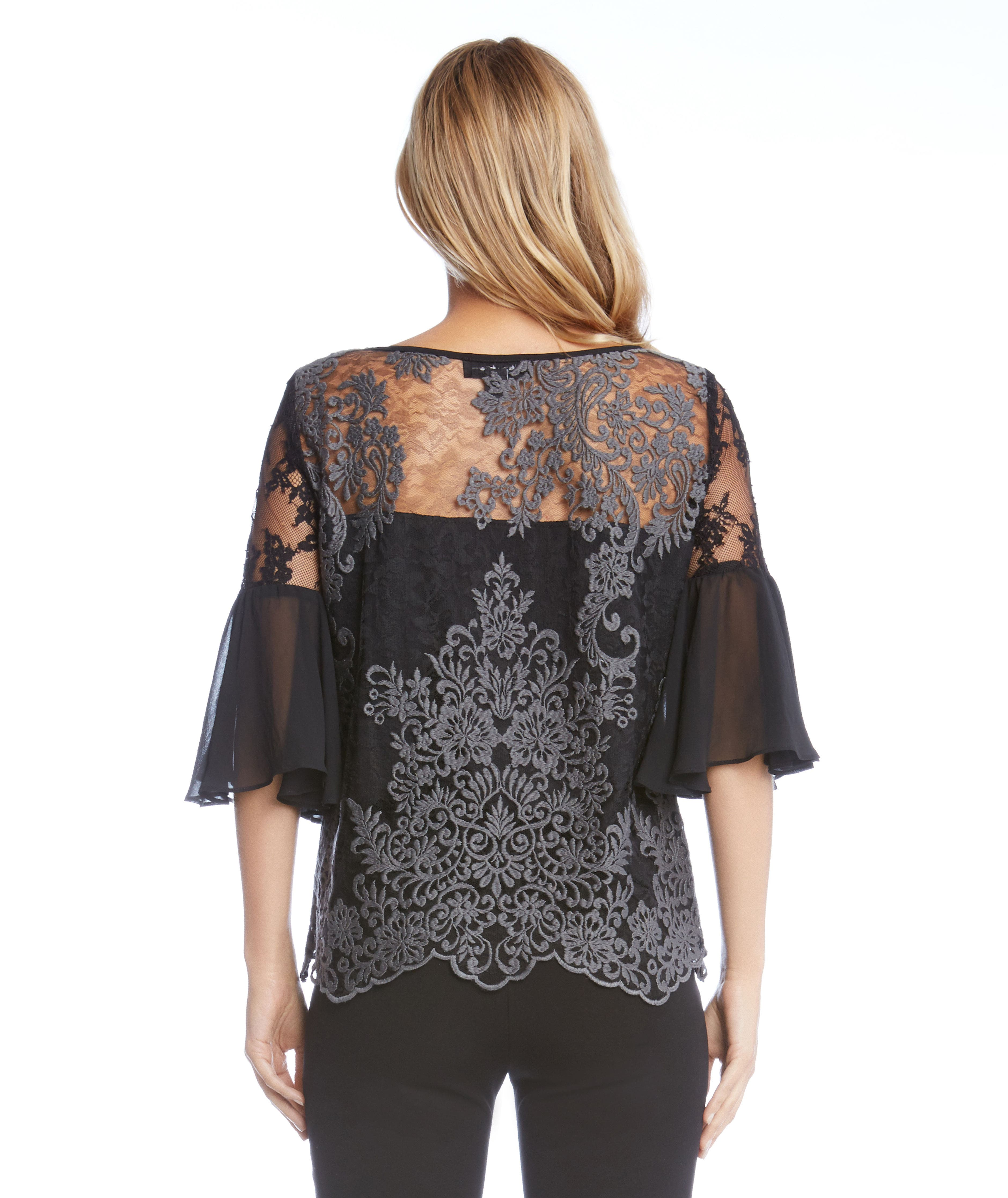 Flare Sleeve Lace Overlay Top,                             Alternate thumbnail 2, color,                             Grey/ Black