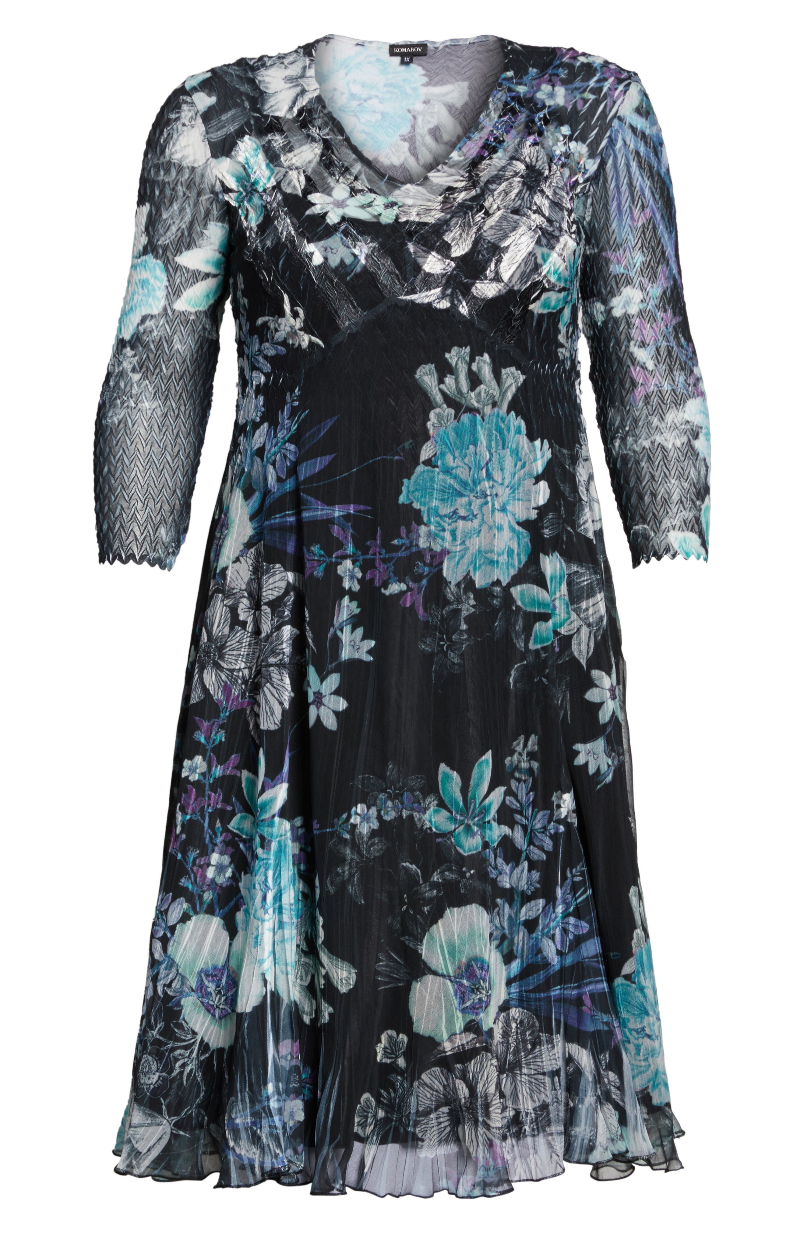 Alternate Image 6  - Komarov Print Chiffon Dress (Plus Size)