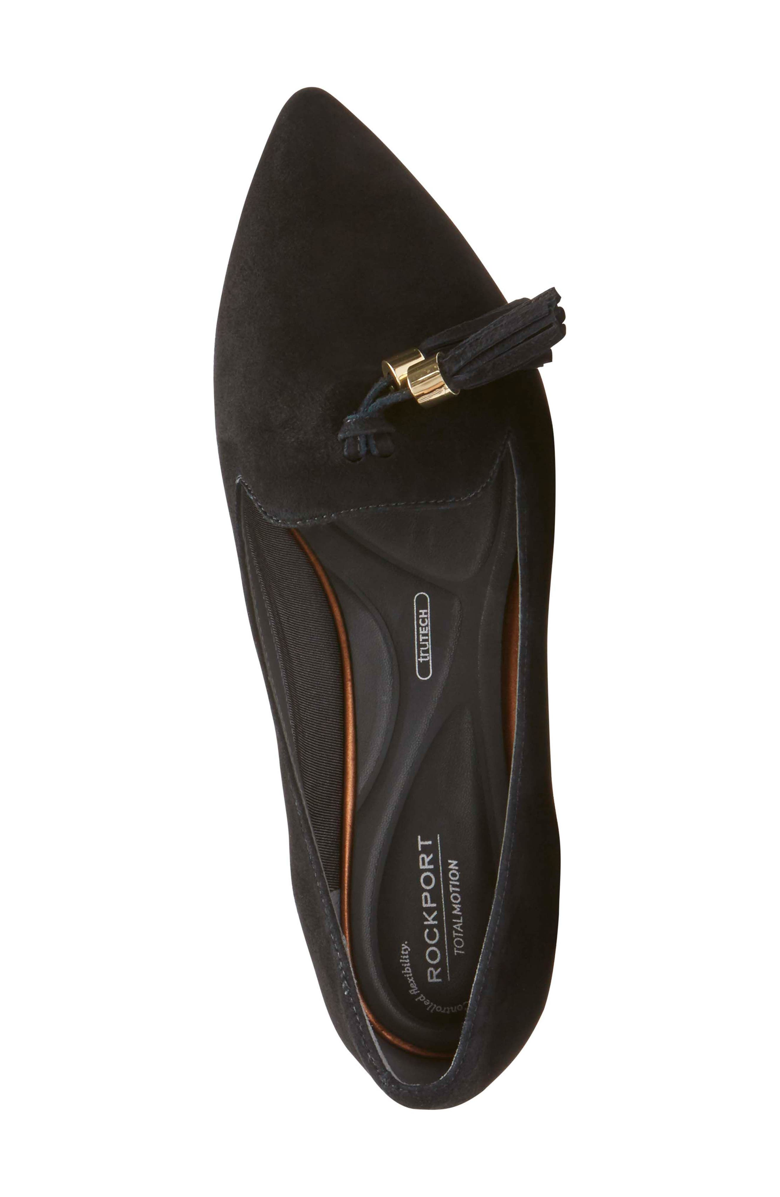 Total Motion Zuly Luxe Pointy Toe Loafer,                             Alternate thumbnail 5, color,                             Black Suede