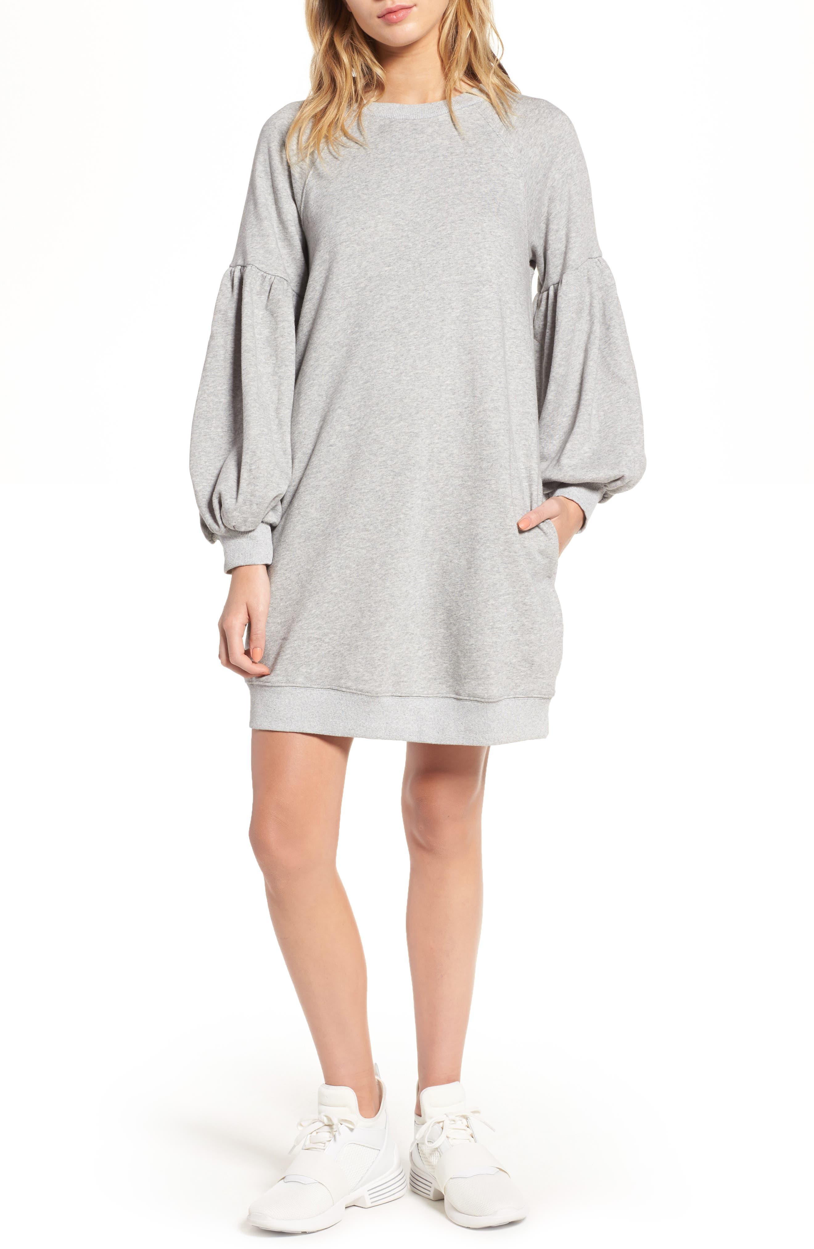 J.O.A. Gathered Sleeve Sweatshirt Dress