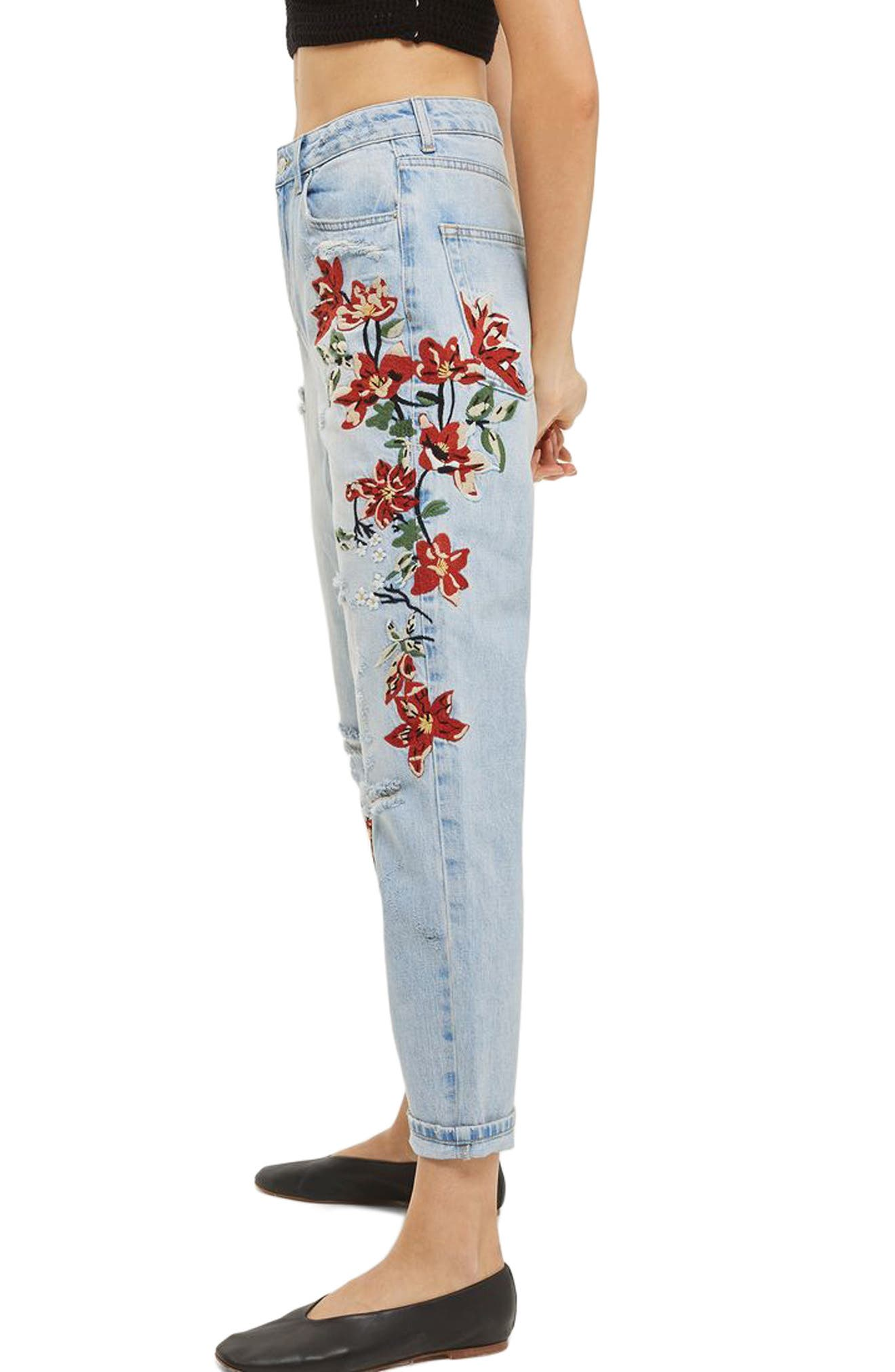 Alternate Image 3  - Topshop Fire Flower High Rise Ripped Mom Jeans (Petite)