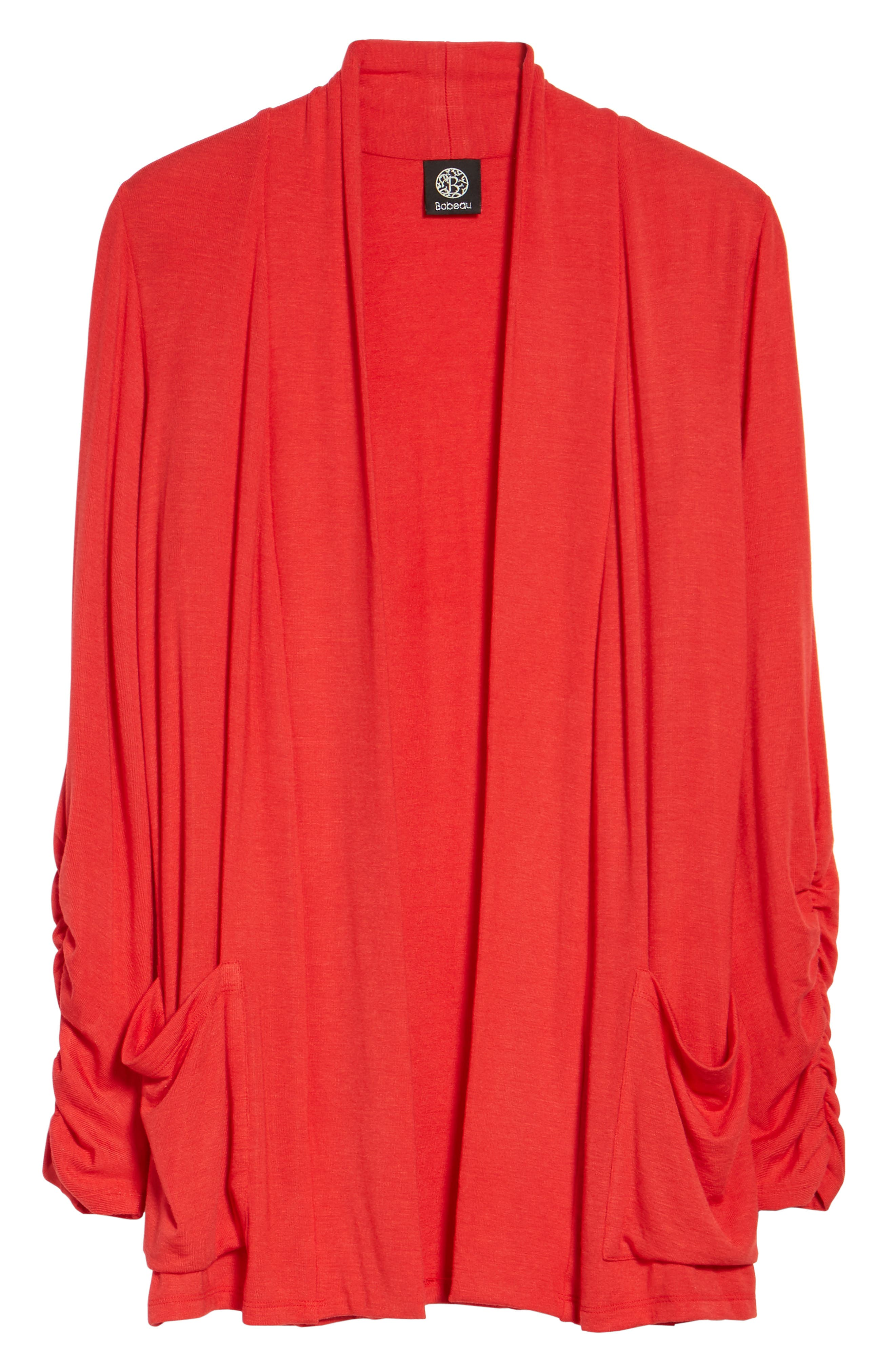 Ruched Sleeve Cardigan,                             Alternate thumbnail 7, color,                             Red Pepper