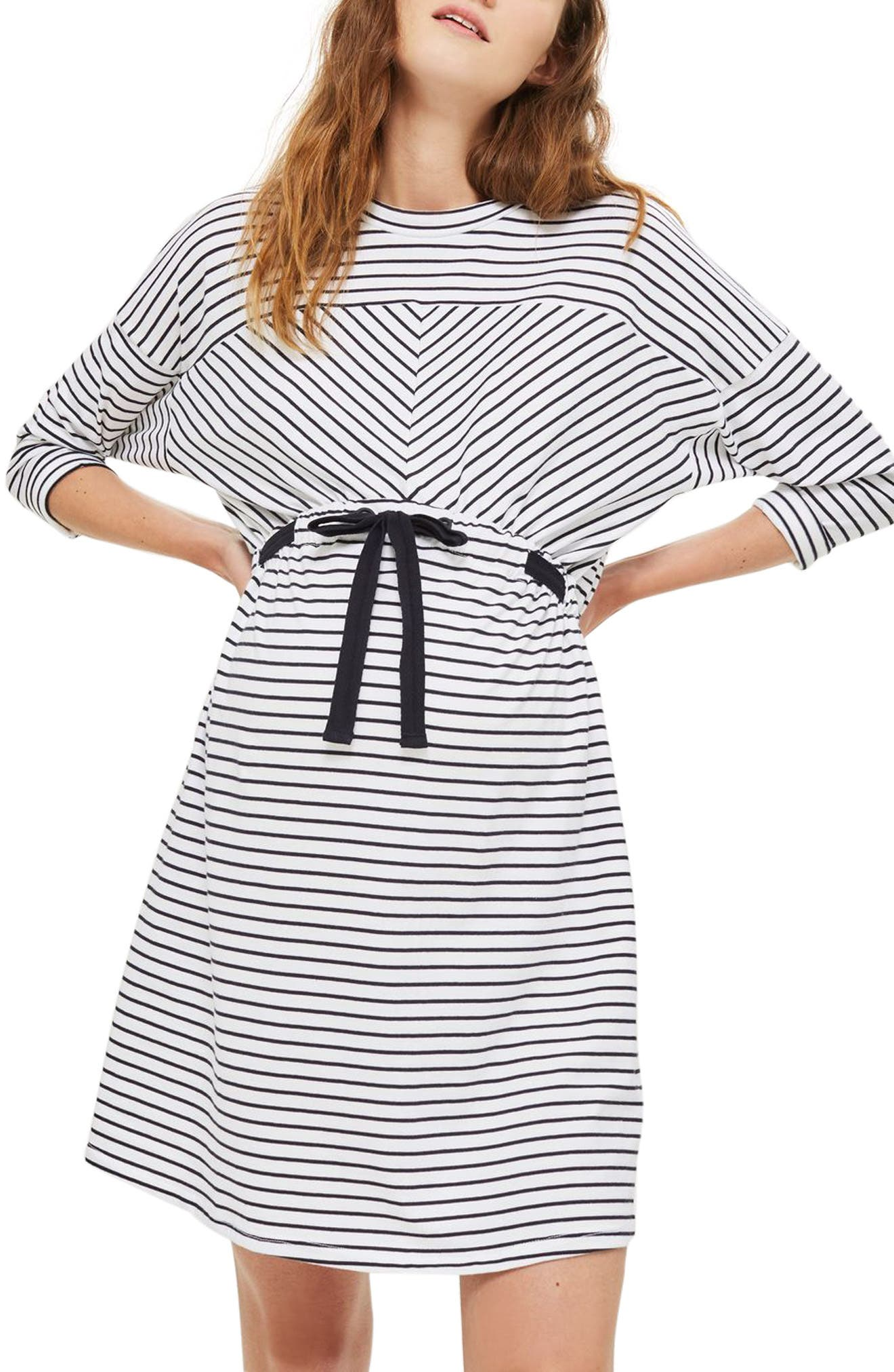 Topshop Stripe Belted Batwing Maternity Dress