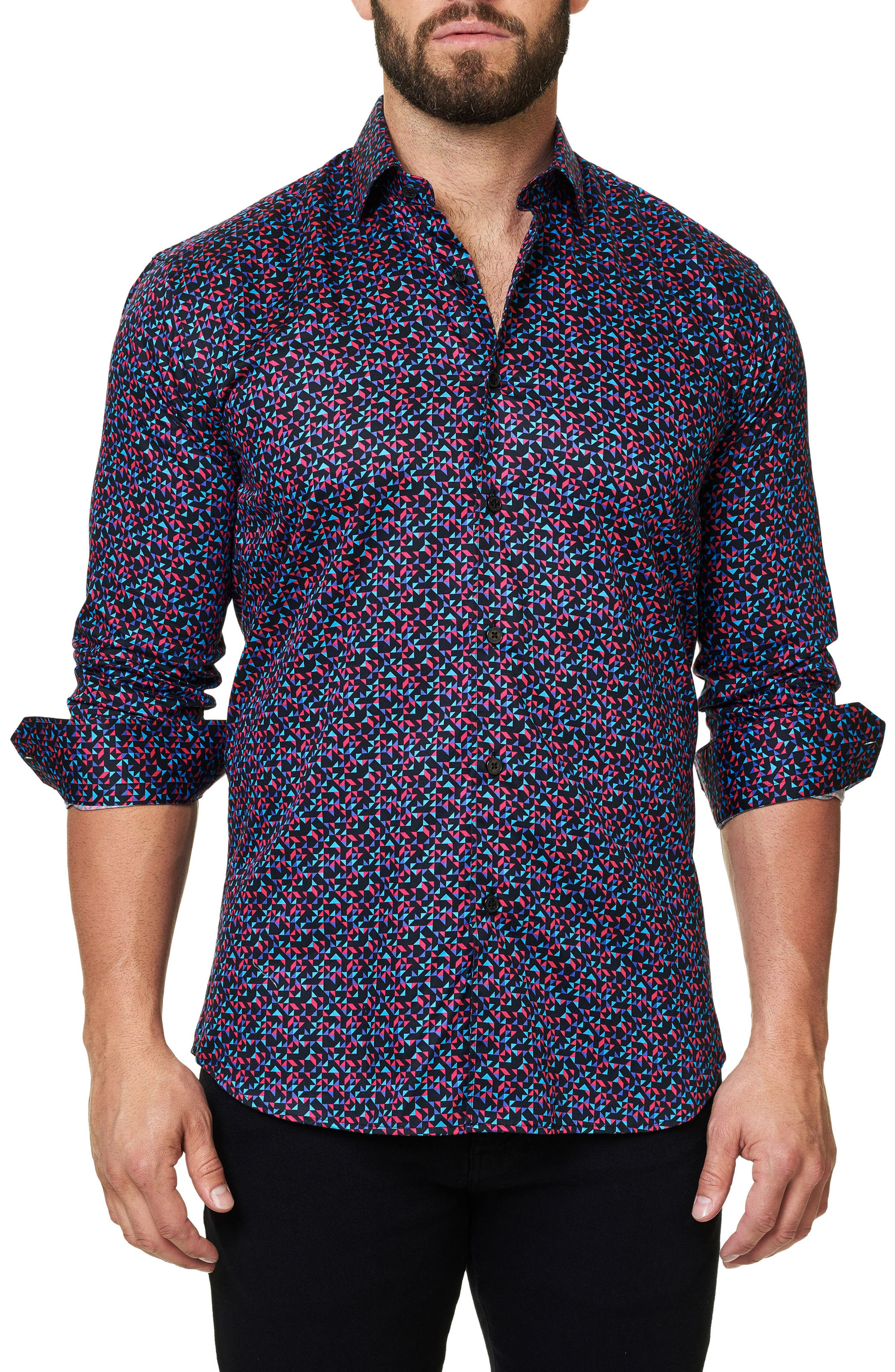 Luxor Abstract Mosaique Slim Fit Sport Shirt,                             Main thumbnail 1, color,                             Multi