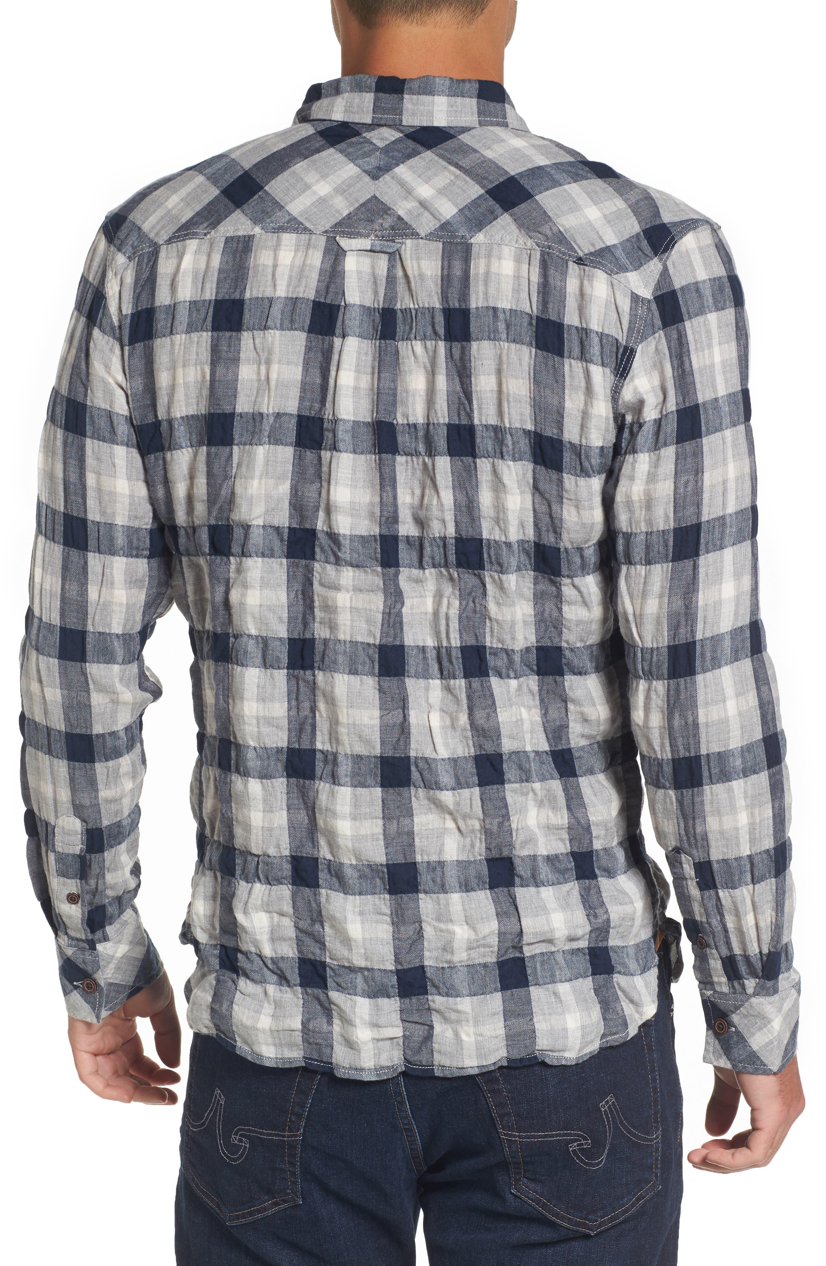Truman Plaid Sport Shirt,                             Alternate thumbnail 2, color,                             Gray/ Navy/ White