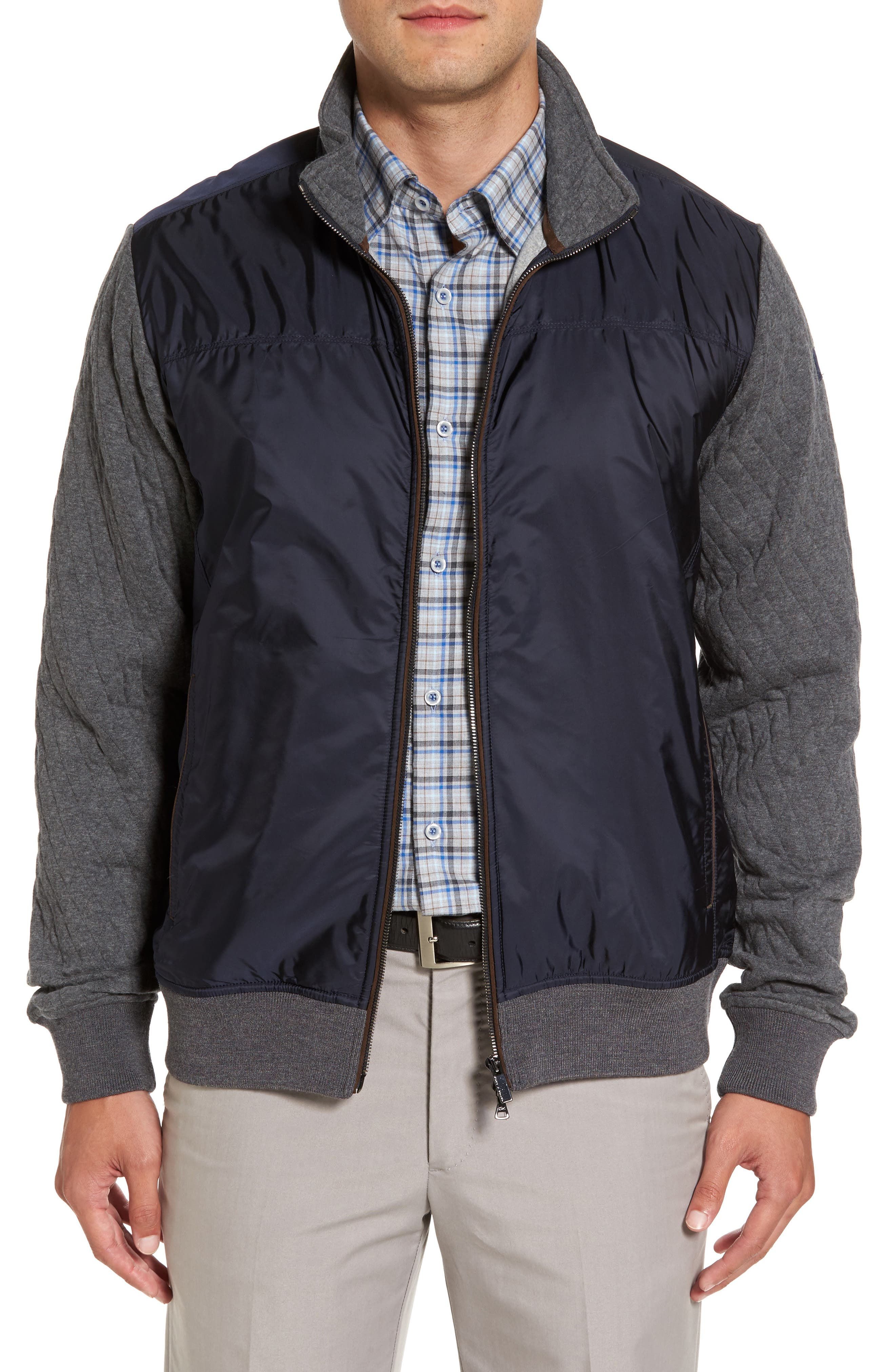 Paul&Shark Colorblock Mixed Media Zip Front Jacket,                             Main thumbnail 1, color,                             Navy / Grey