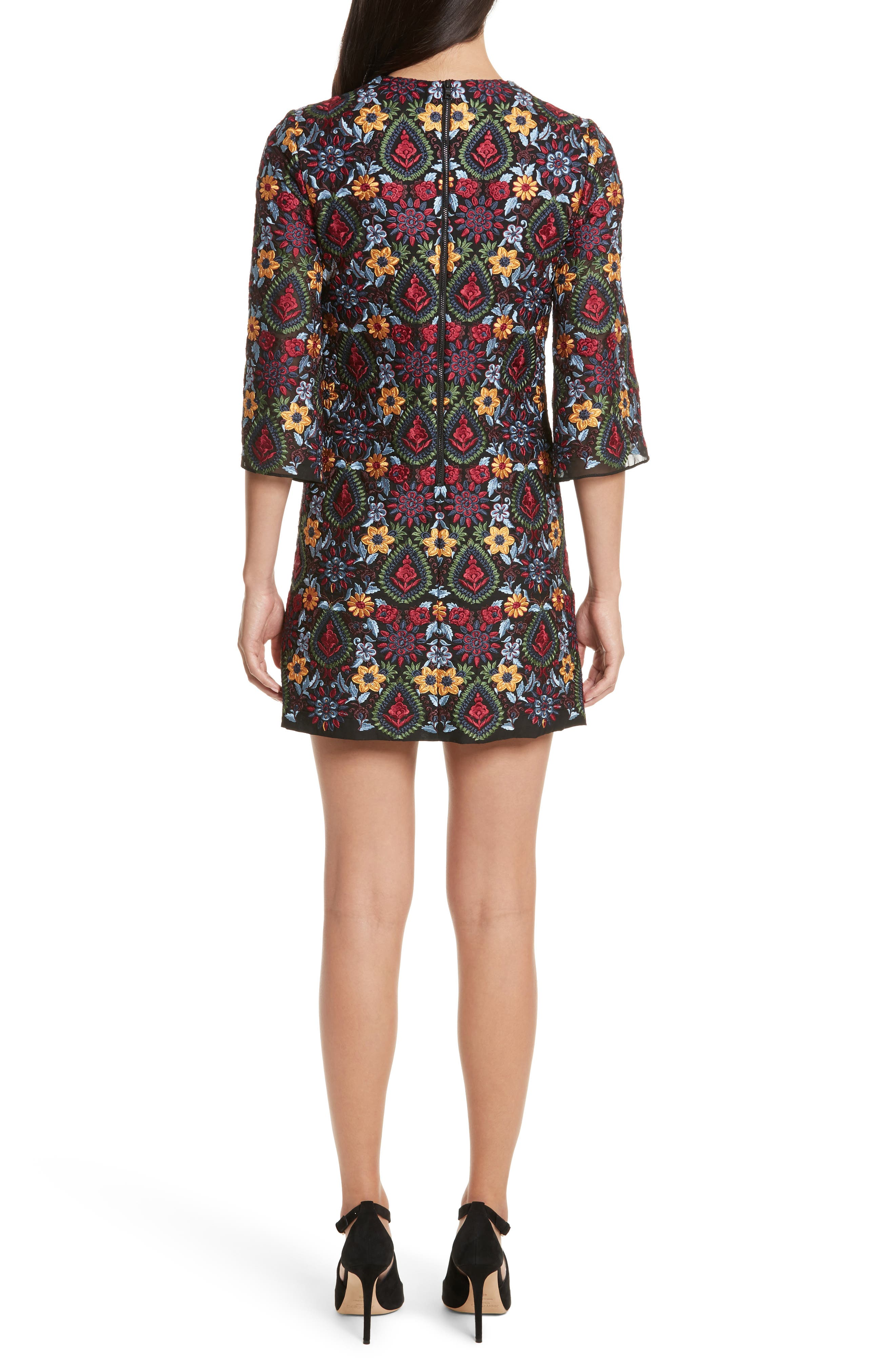 Coley Embroidered Bell Sleeve Dress,                             Alternate thumbnail 2, color,                             Black Multi