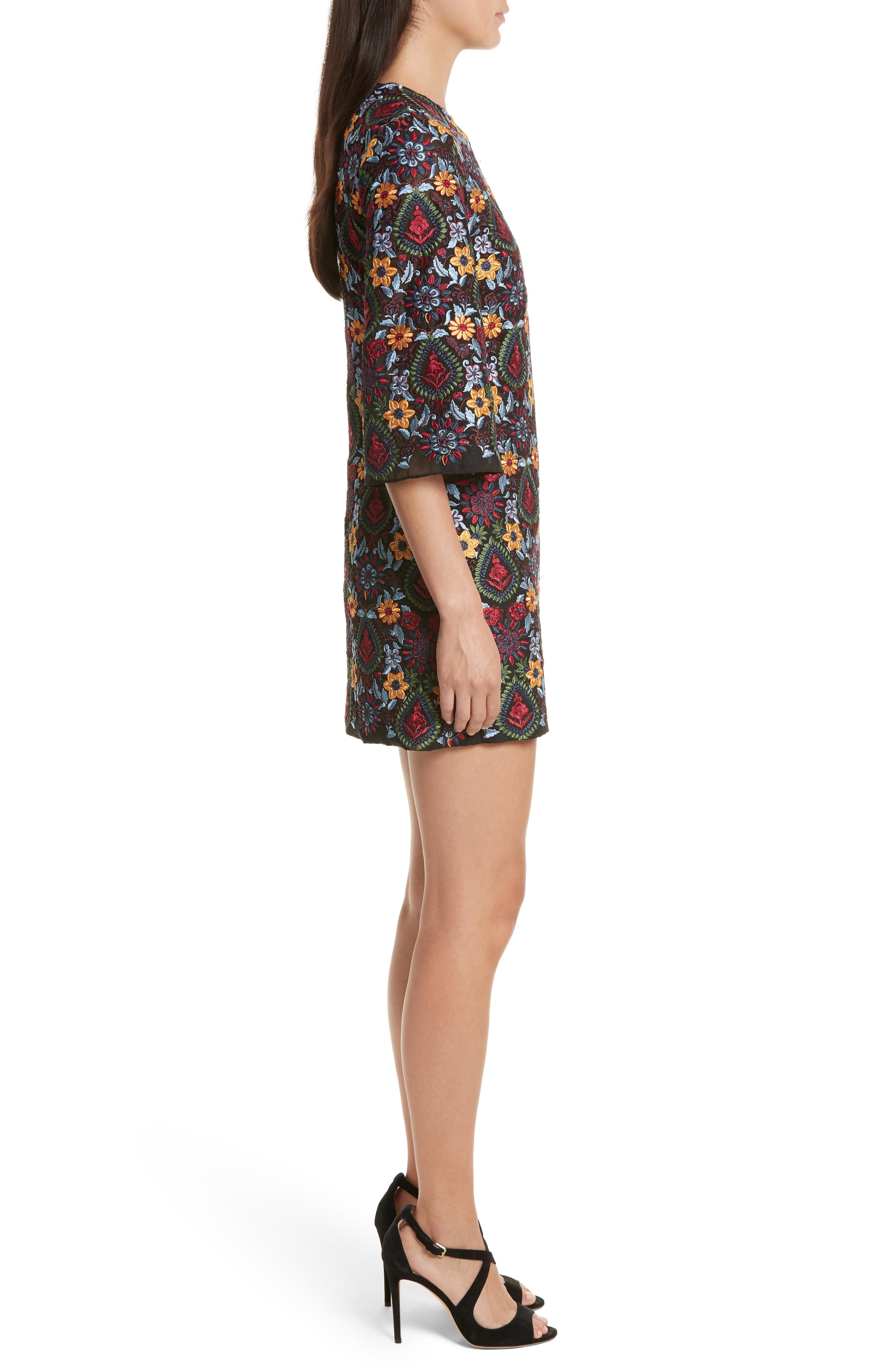 Coley Embroidered Bell Sleeve Dress,                             Alternate thumbnail 3, color,                             Black Multi