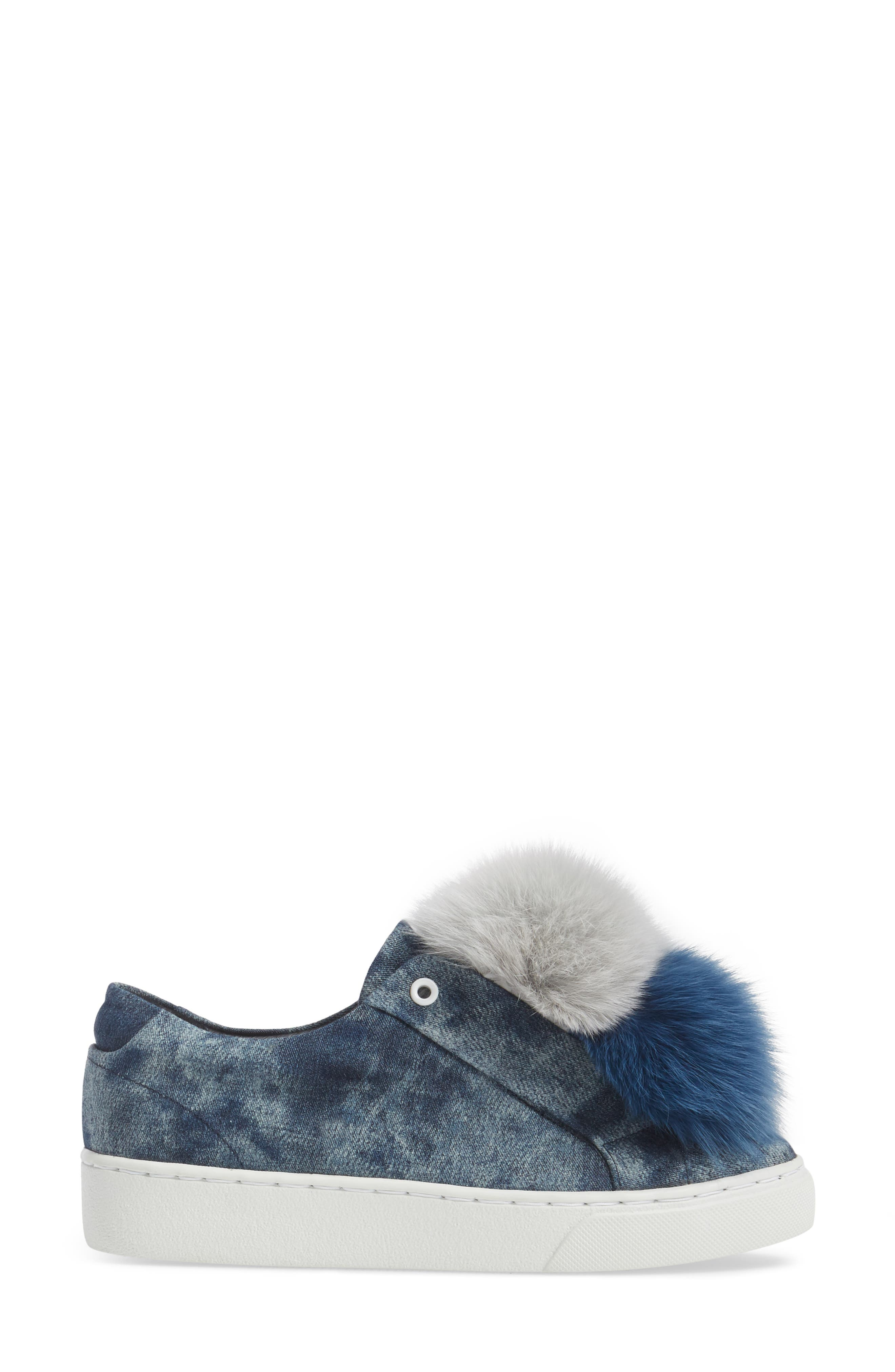 Joey Genuine Fox Fur Trim Sneaker,                             Alternate thumbnail 3, color,                             Blue Tiedye Denim