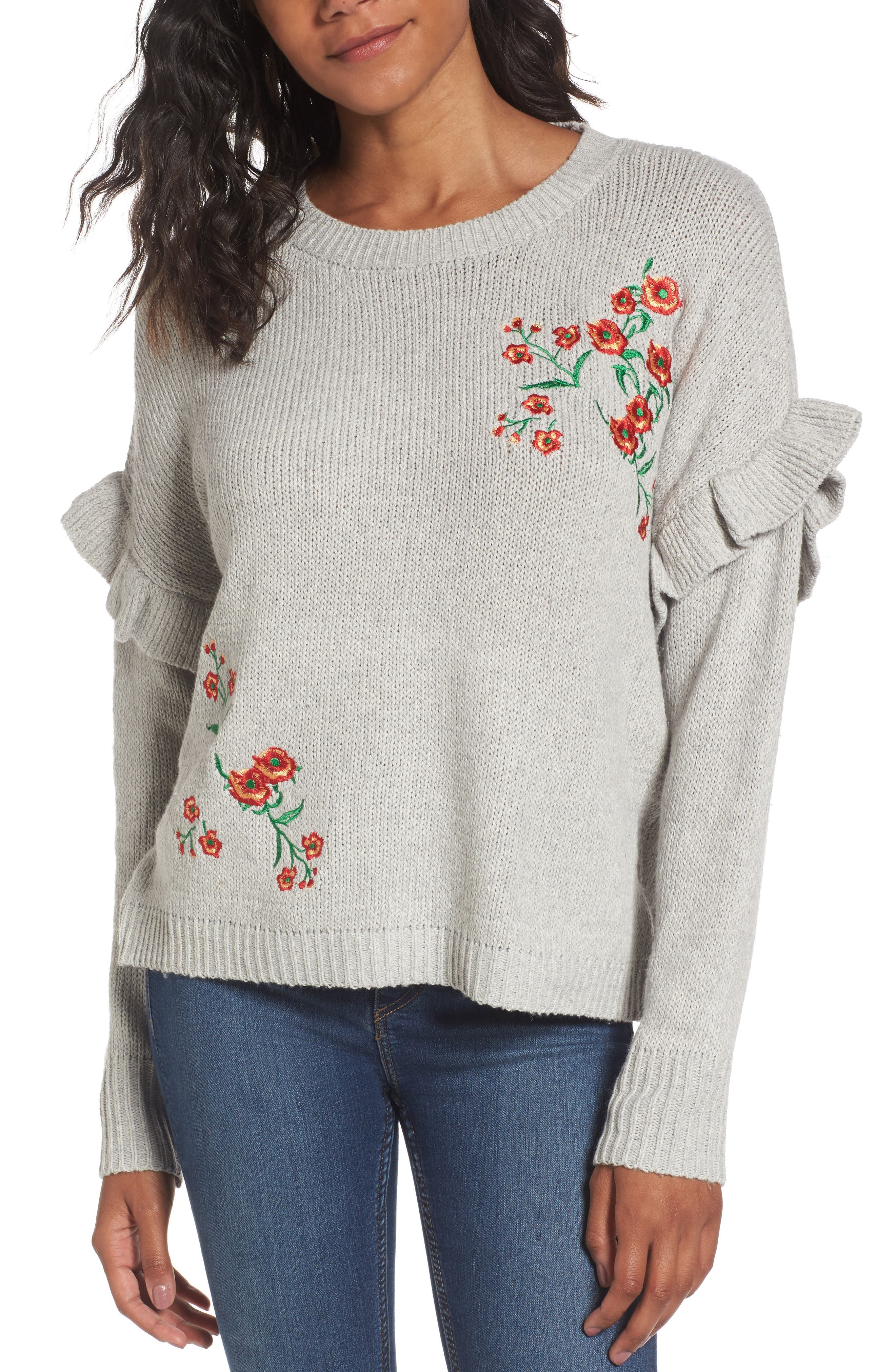 Ruffle Sleeve Embroidered Sweater,                         Main,                         color, Grey