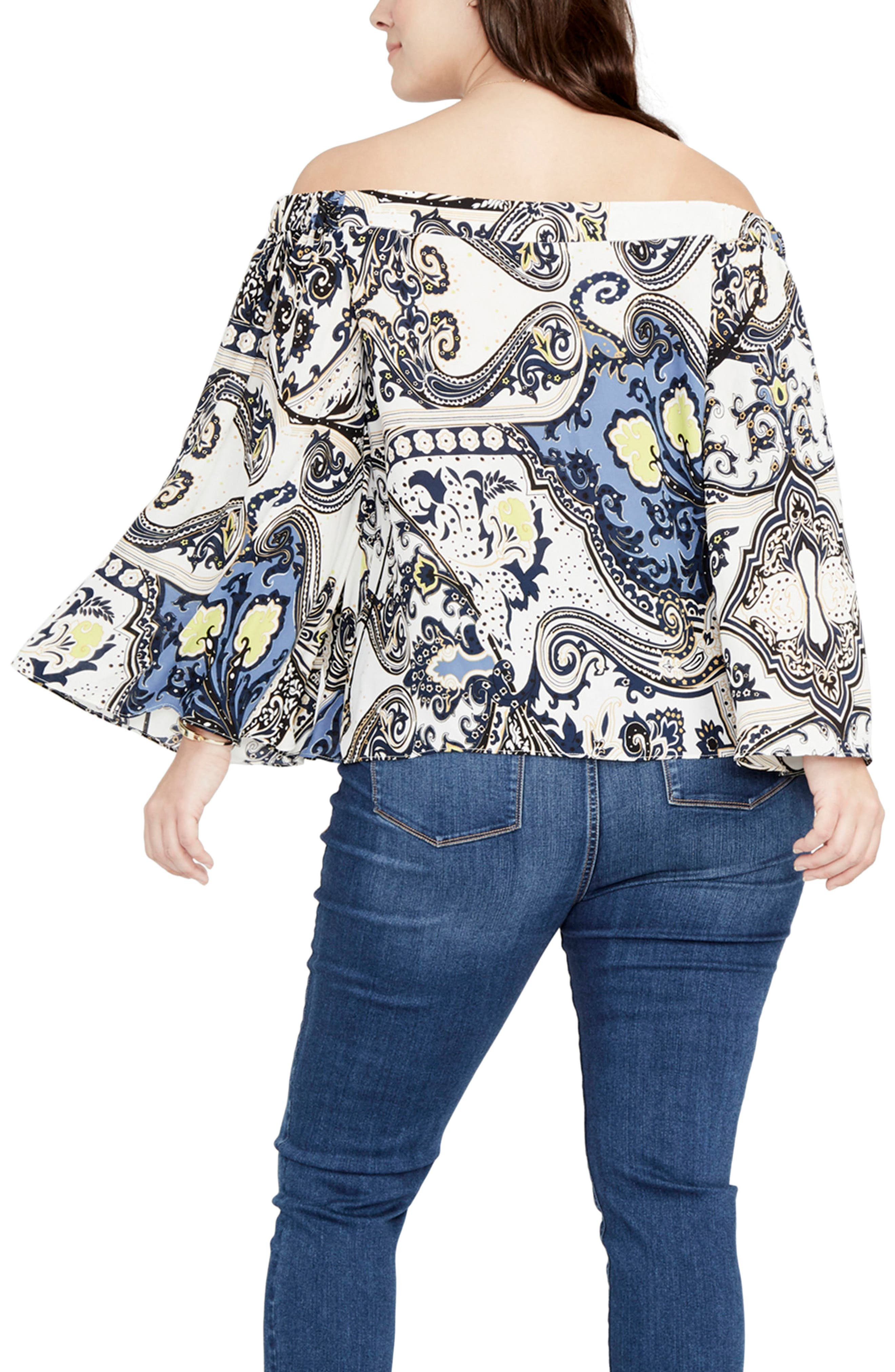 Cape Sleeve Off the Shoulder Top,                             Alternate thumbnail 3, color,                             Ivory/ Navy Combo