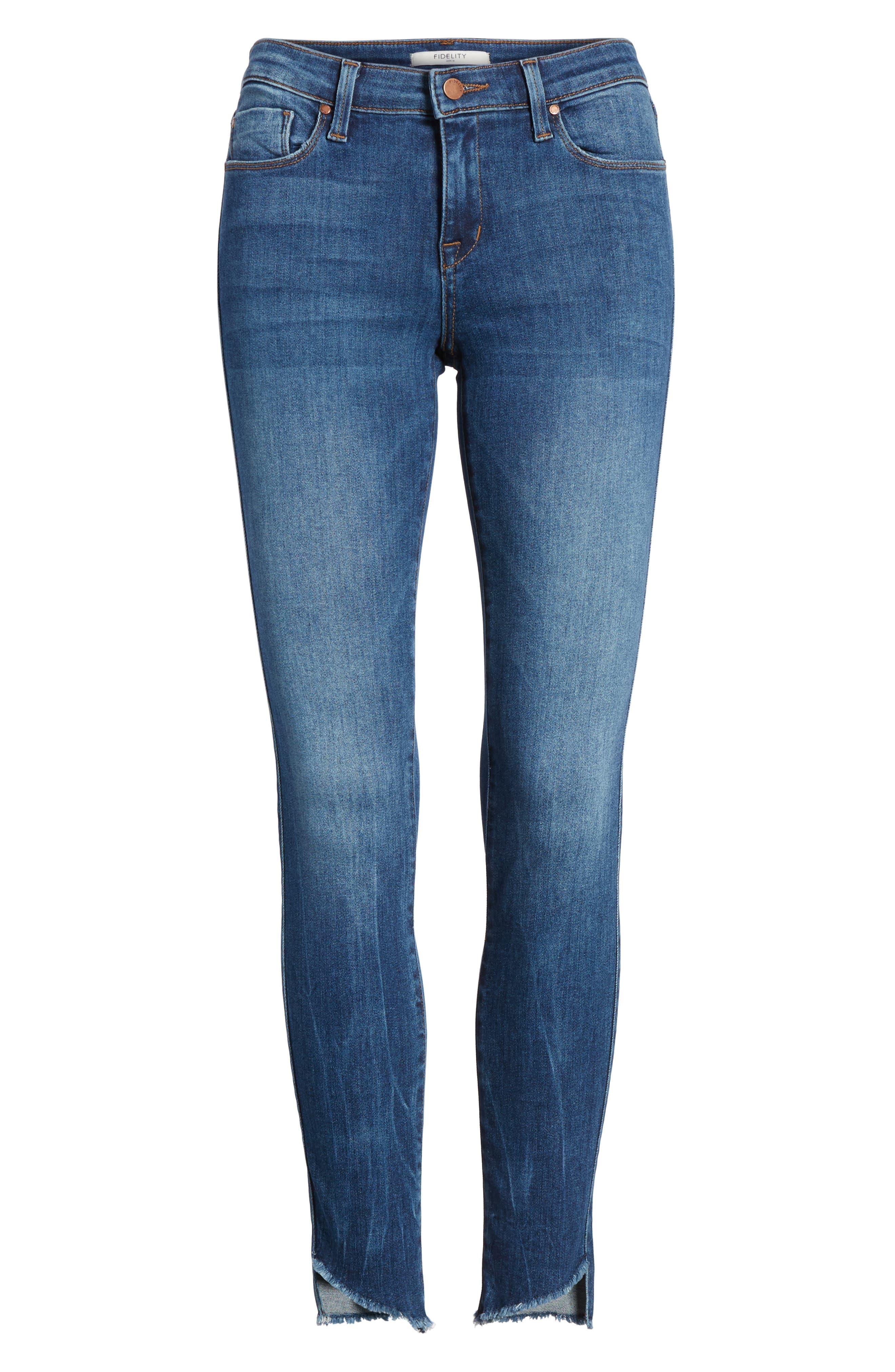Alternate Image 6  - Fidelity Denim Mila Step Hem Skinny Jeans (Vintage Blue)