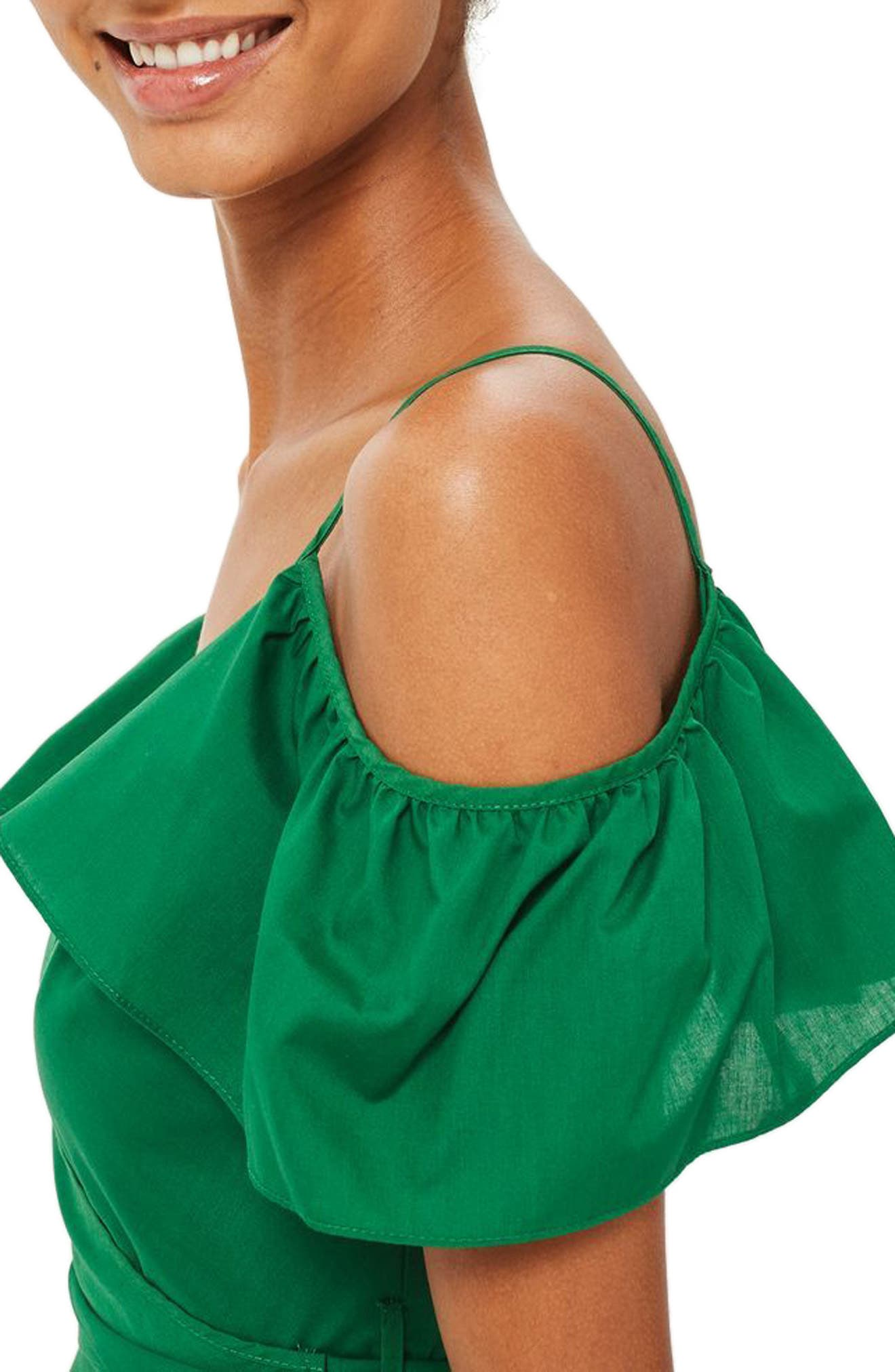Ruffle Cold Shoulder Wrap Top,                             Alternate thumbnail 3, color,                             Green