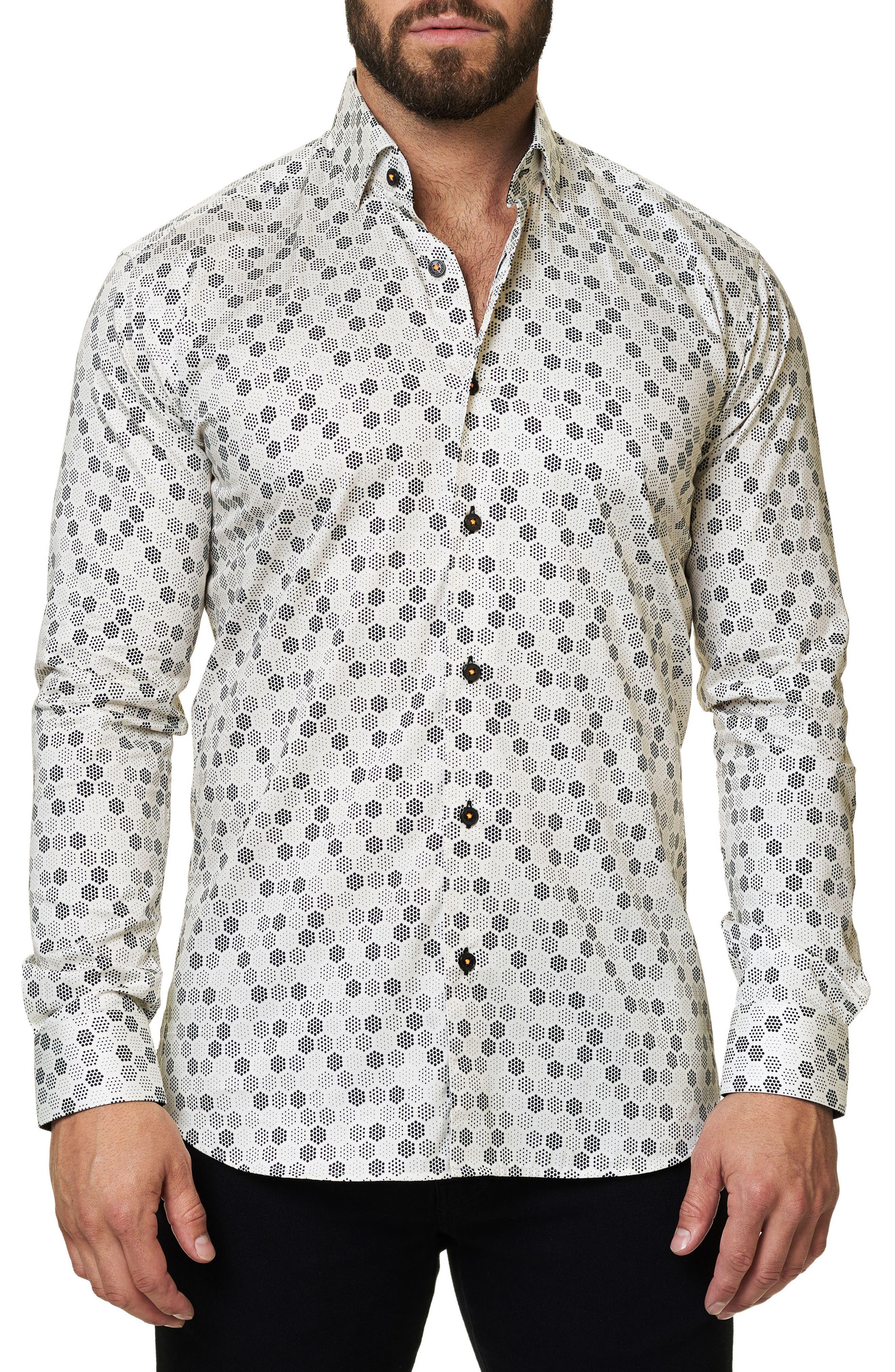 Trim Fit Geo Print Sport Shirt,                             Alternate thumbnail 3, color,                             White