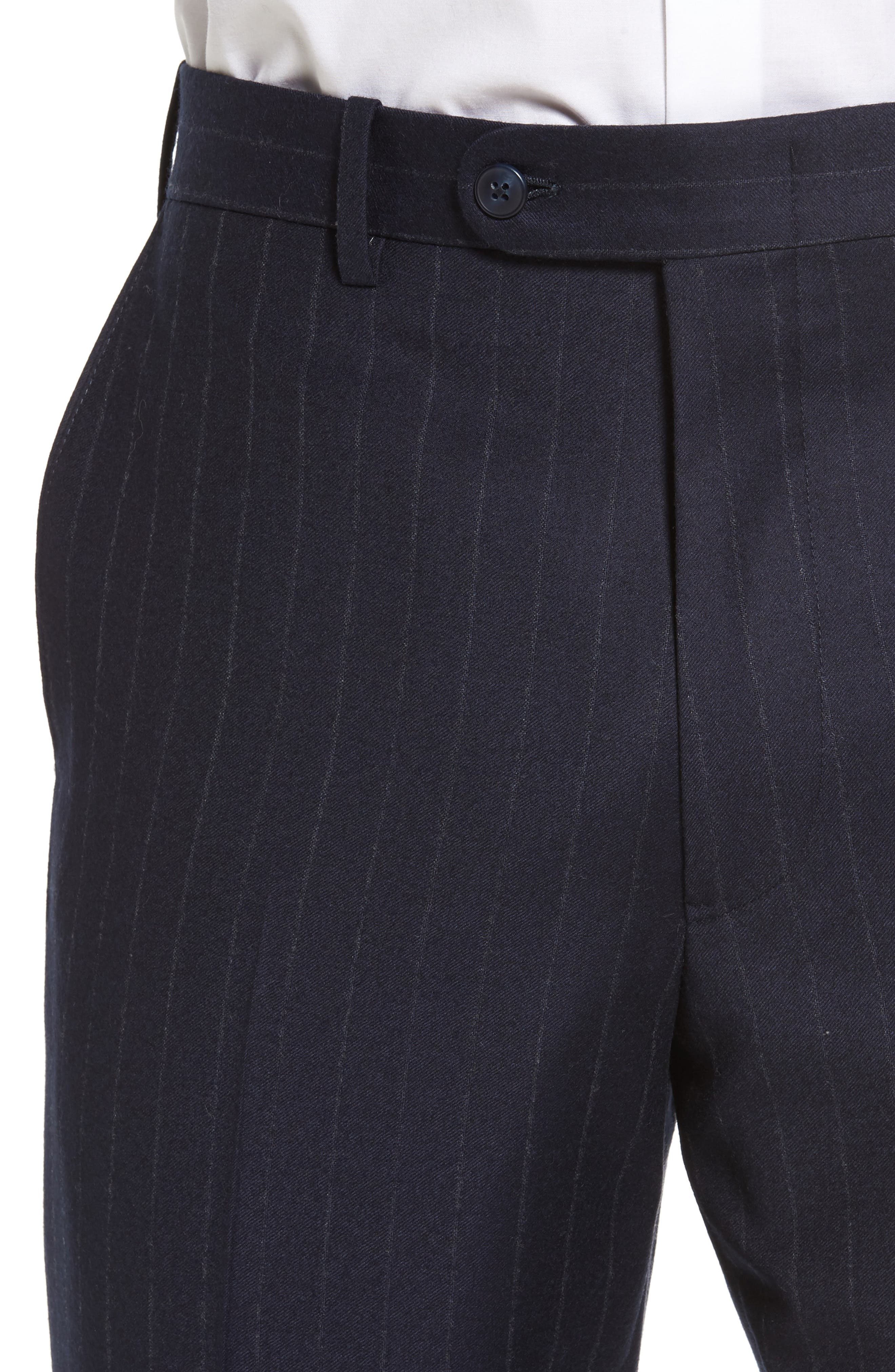 Flat Front Chalk Stripe Wool Trousers,                             Alternate thumbnail 4, color,                             Navy