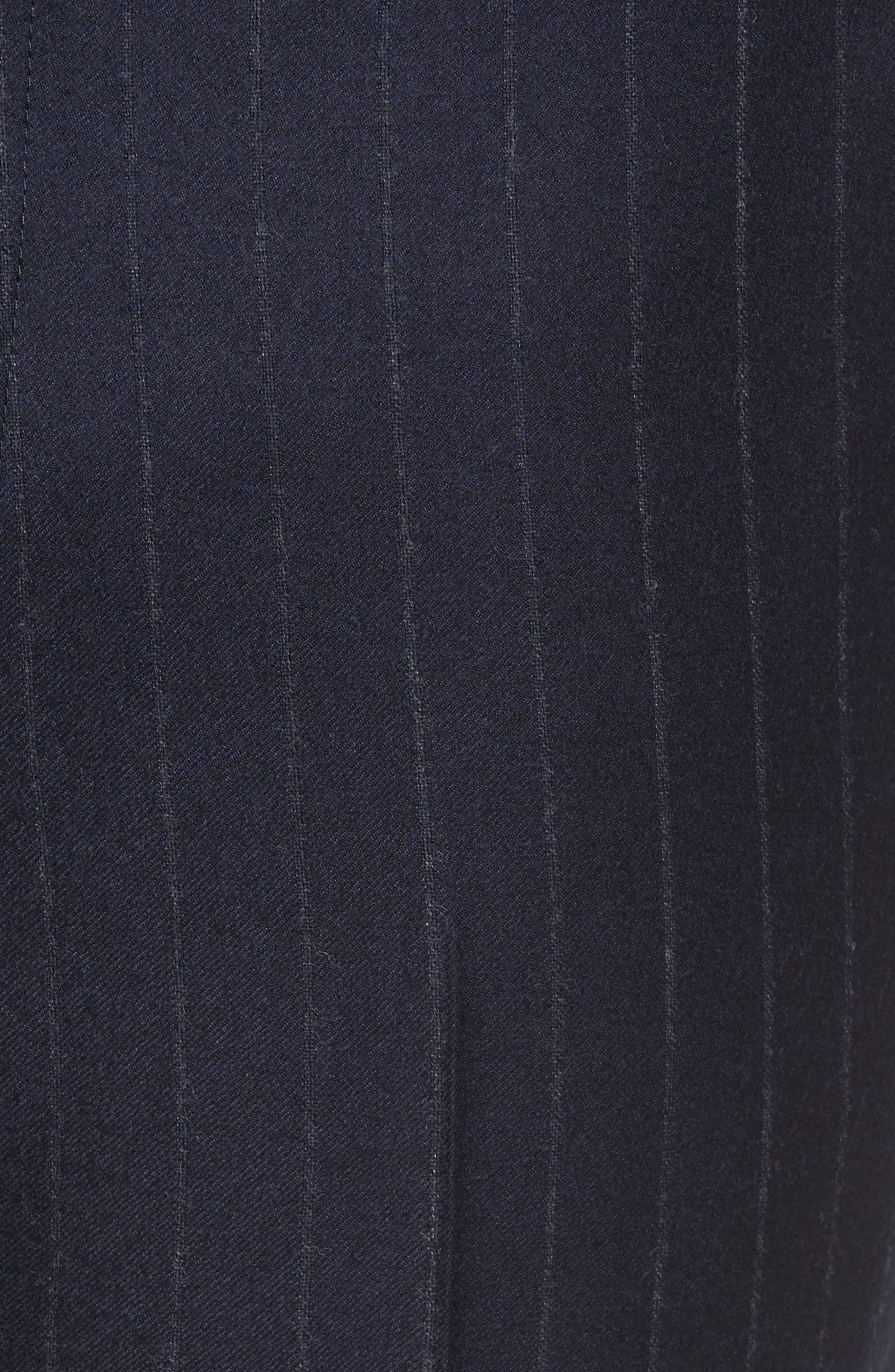 Flat Front Chalk Stripe Wool Trousers,                             Alternate thumbnail 5, color,                             Navy