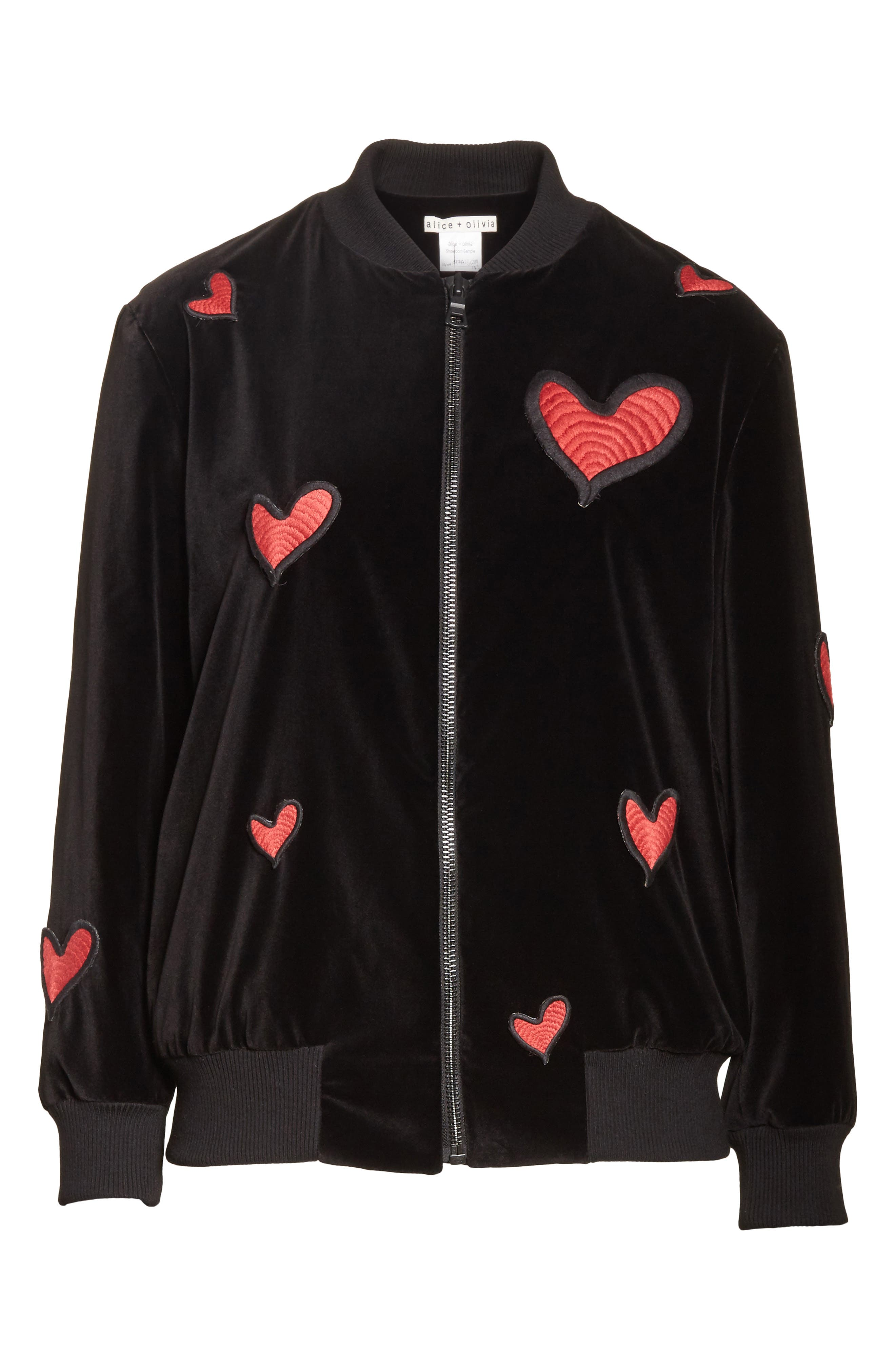 Embroidered Patch Oversize Bomber Jacket,                             Alternate thumbnail 6, color,                             Black Red